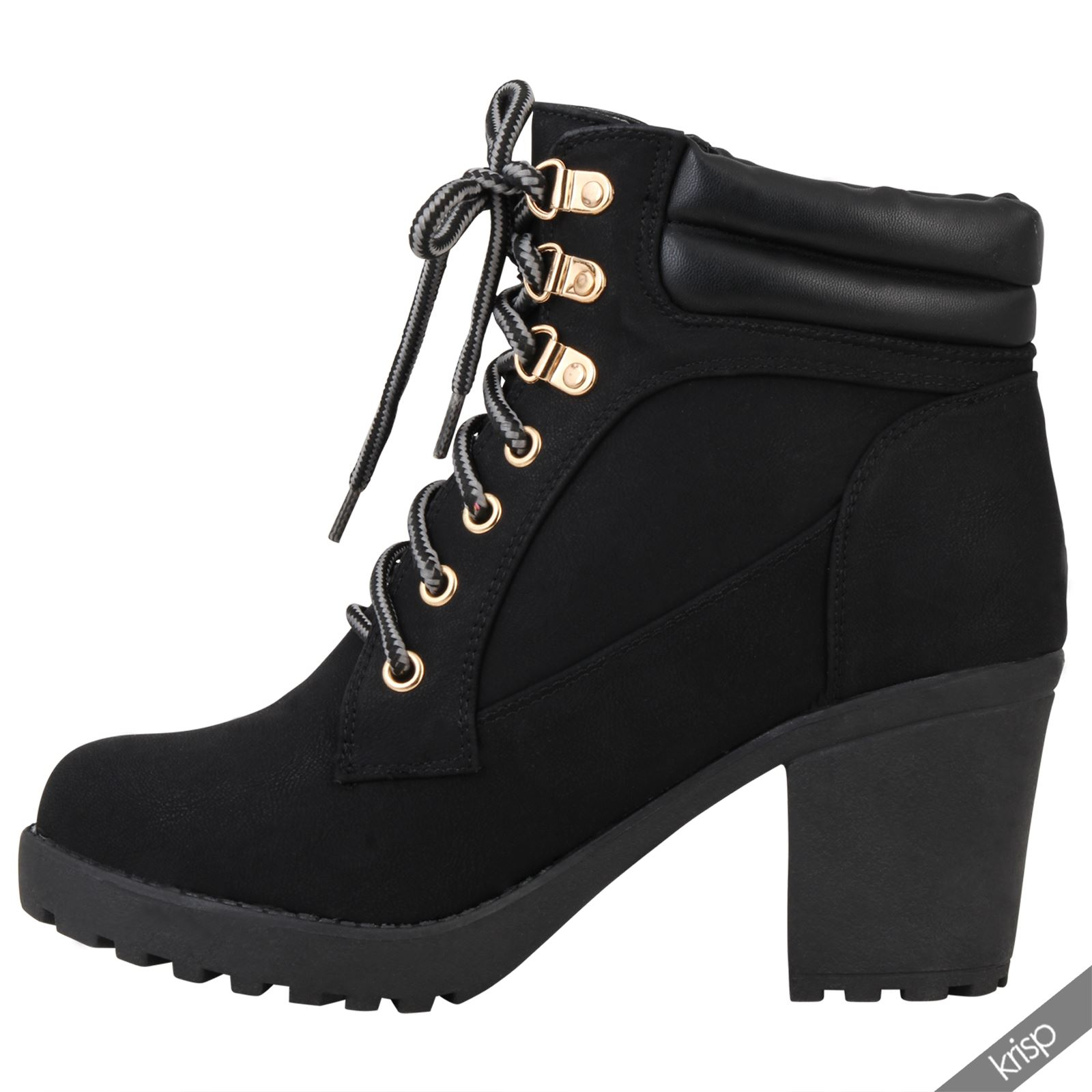 2987fce7564a Womens Chunky Block High Heel Worker Ankle Boots Cleated Casual .
