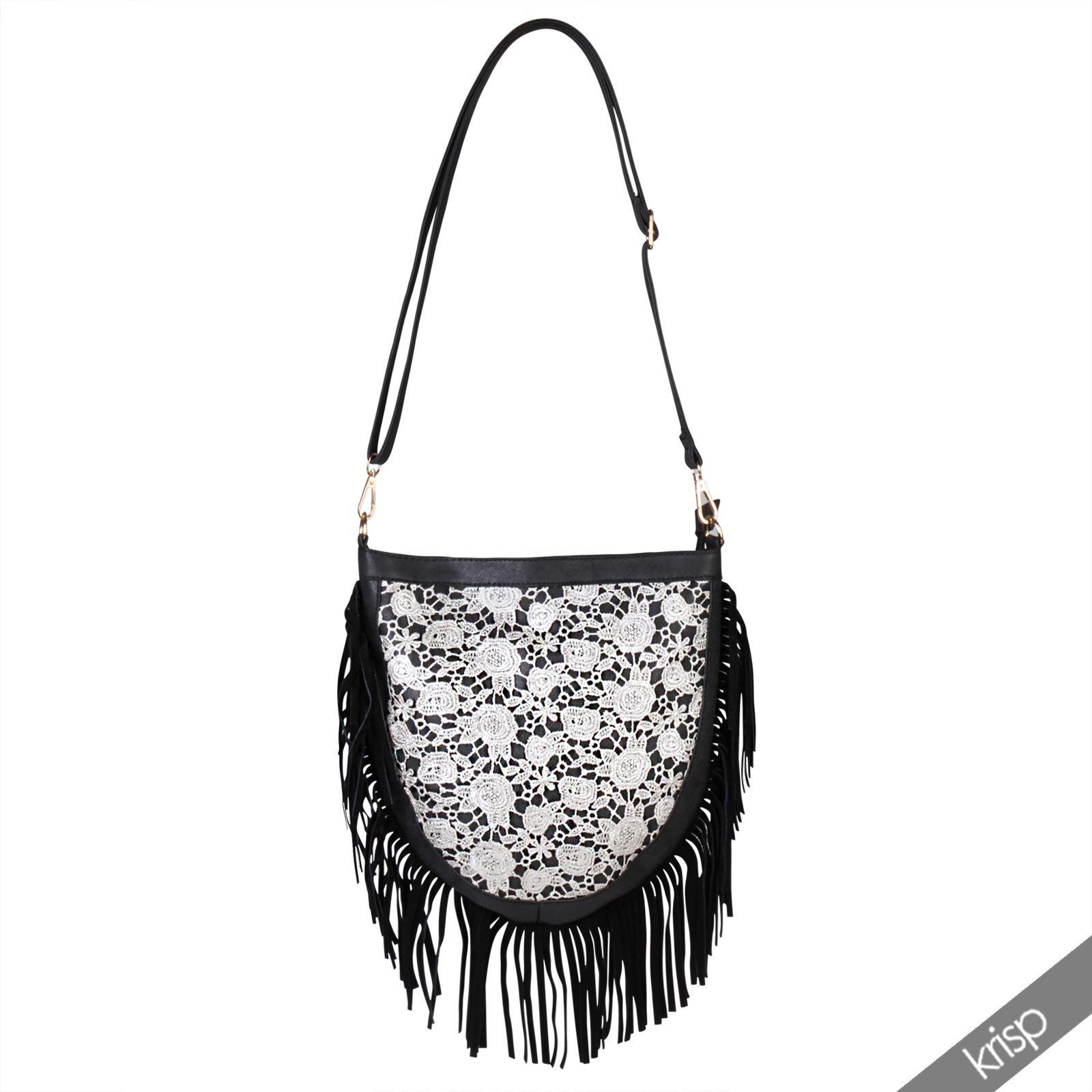 Crochet Tassel Bag : ... Silver-Crochet-Boho-Fringe-Tassel-Shoulder-Messenger-Hand-Bag-Festival