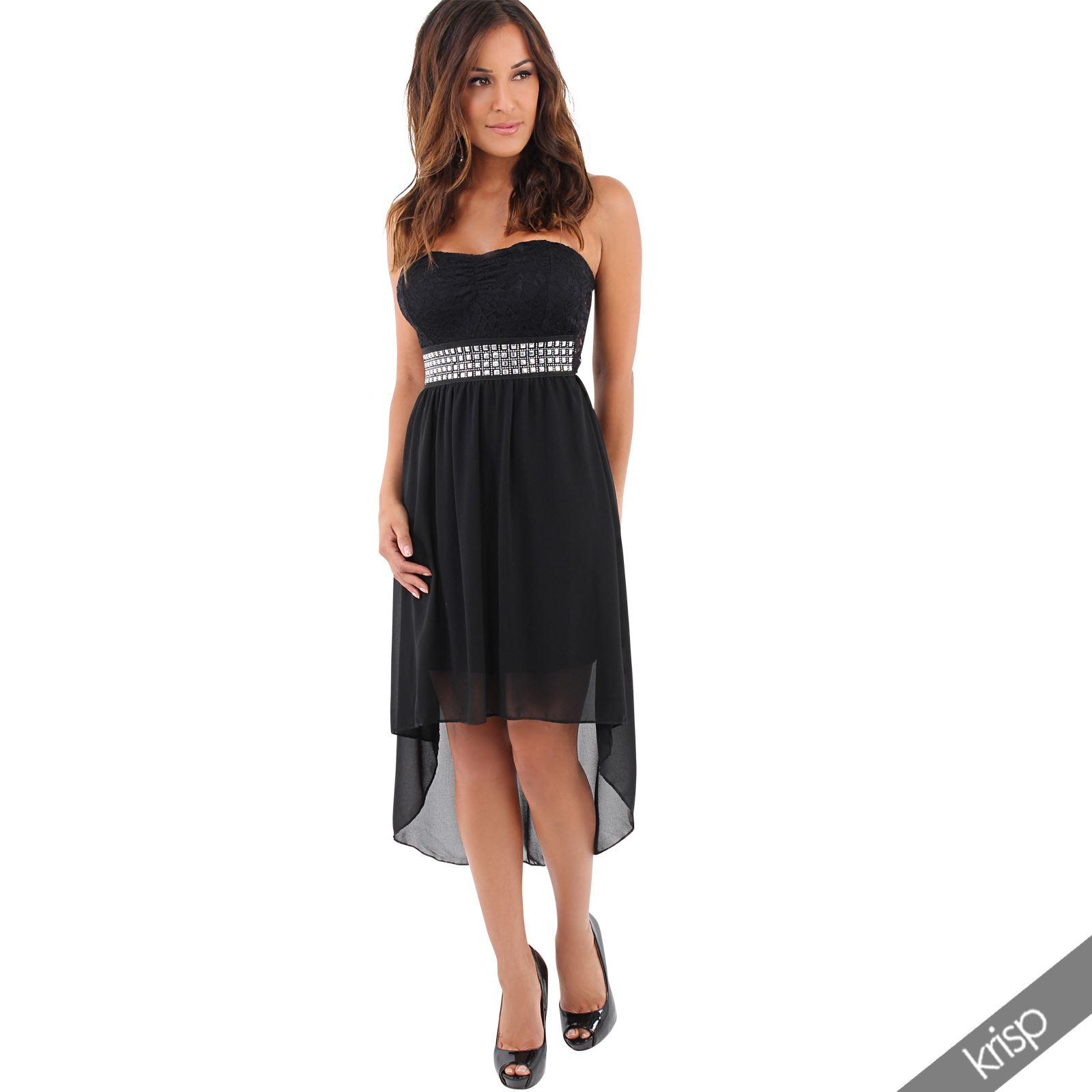 Womens Lace Boob Tube Fishtail Mini Dress Chiffon Skirt ...
