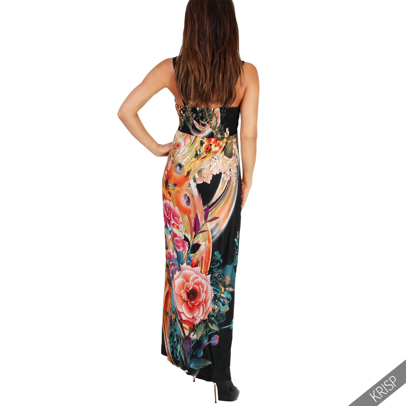 femme robe longue fleurie pliss e bretelle double taille empire cache coeur ebay. Black Bedroom Furniture Sets. Home Design Ideas