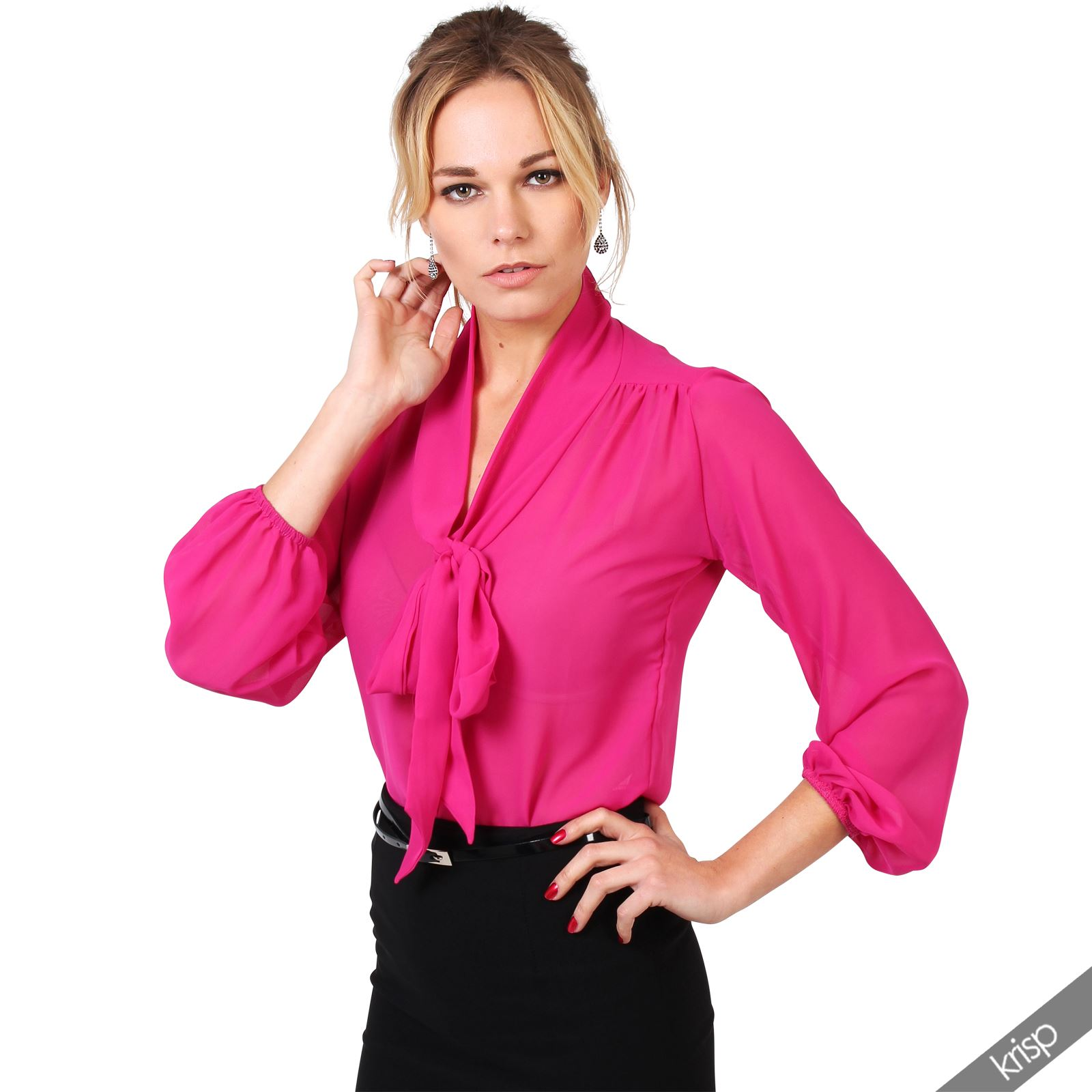 Womens-See-Through-Chiffon-Blouse-Bow-Tie-Top-Long-Sleeve-Smart-Shirt