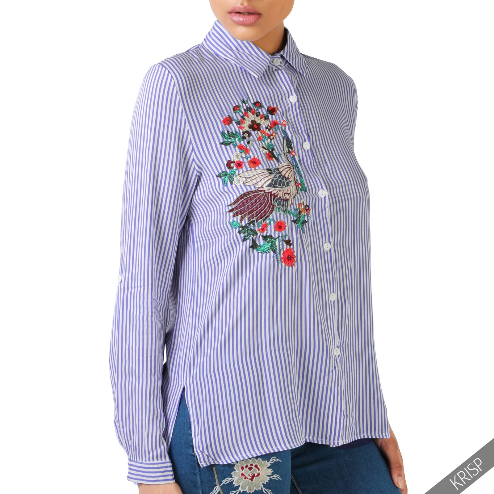 Womens Striped Flower Embroidered Shirt Ladies Button Up ...