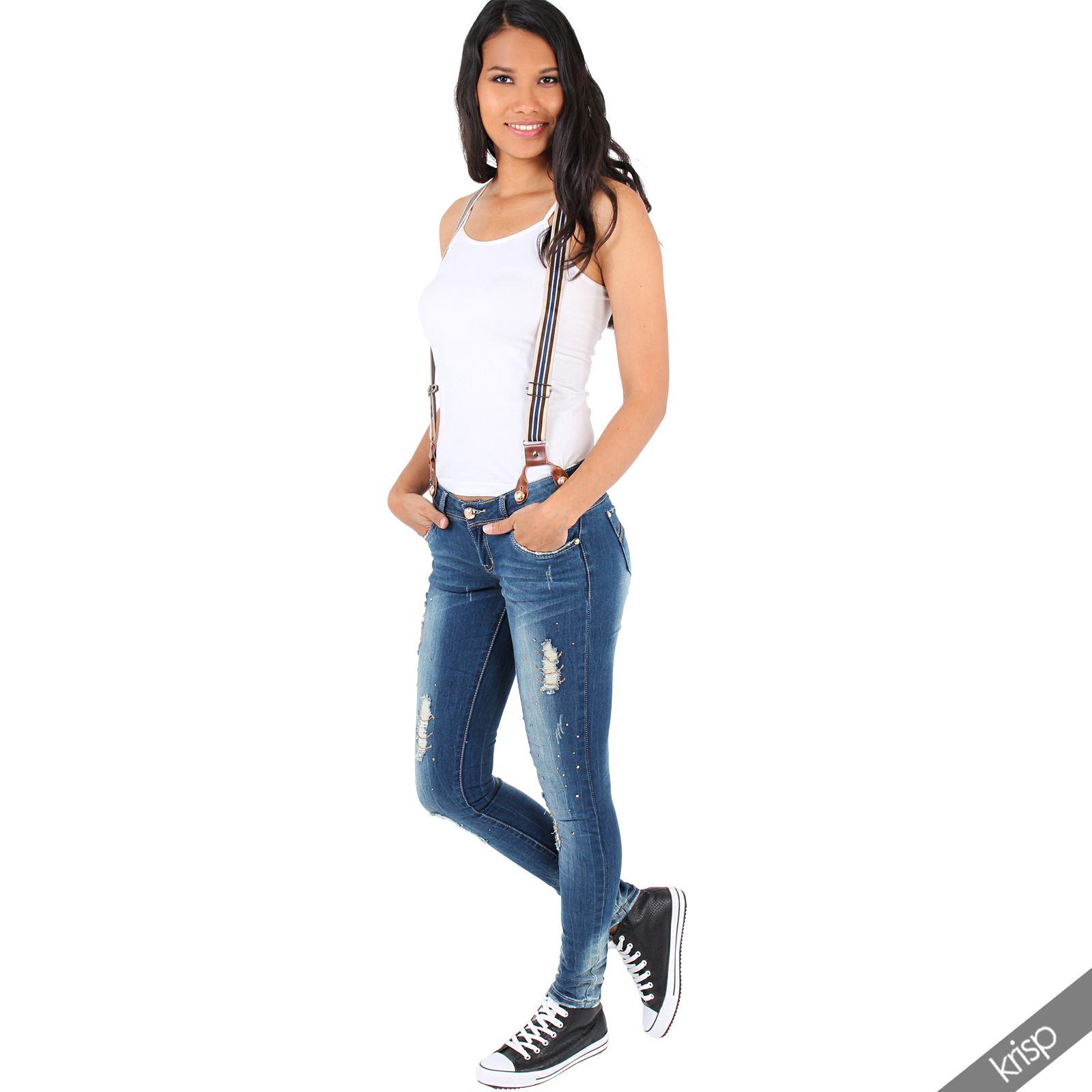 femme pantalon bretelles amovibles jean slim strass et d chir moulant ebay. Black Bedroom Furniture Sets. Home Design Ideas