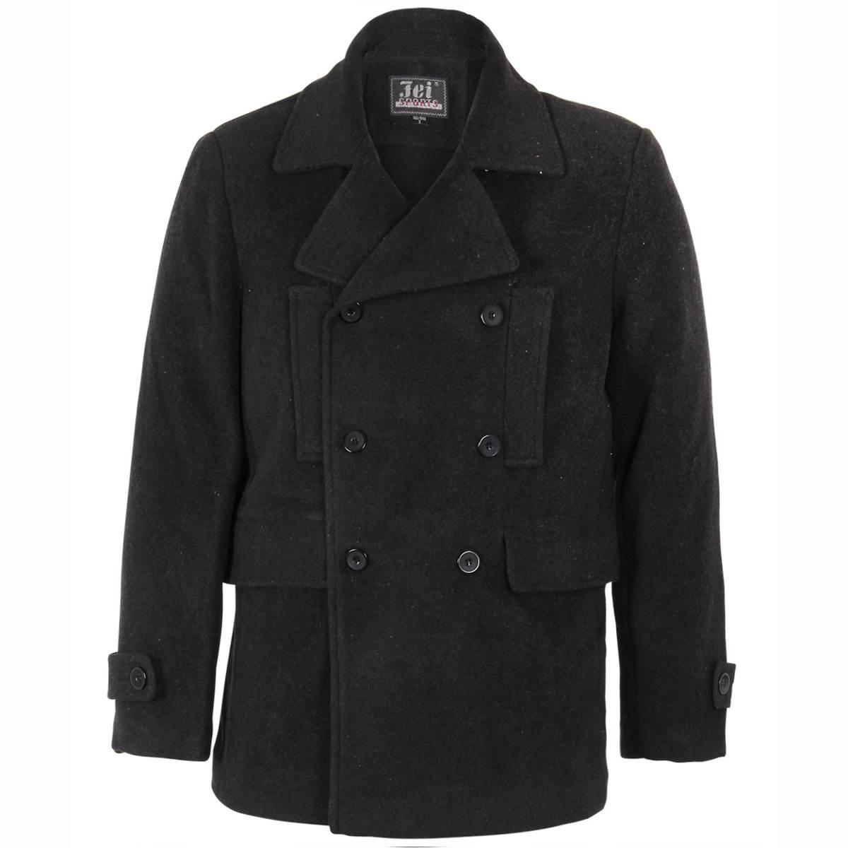 herren schwarze winterjacke pea coat caban jacke. Black Bedroom Furniture Sets. Home Design Ideas
