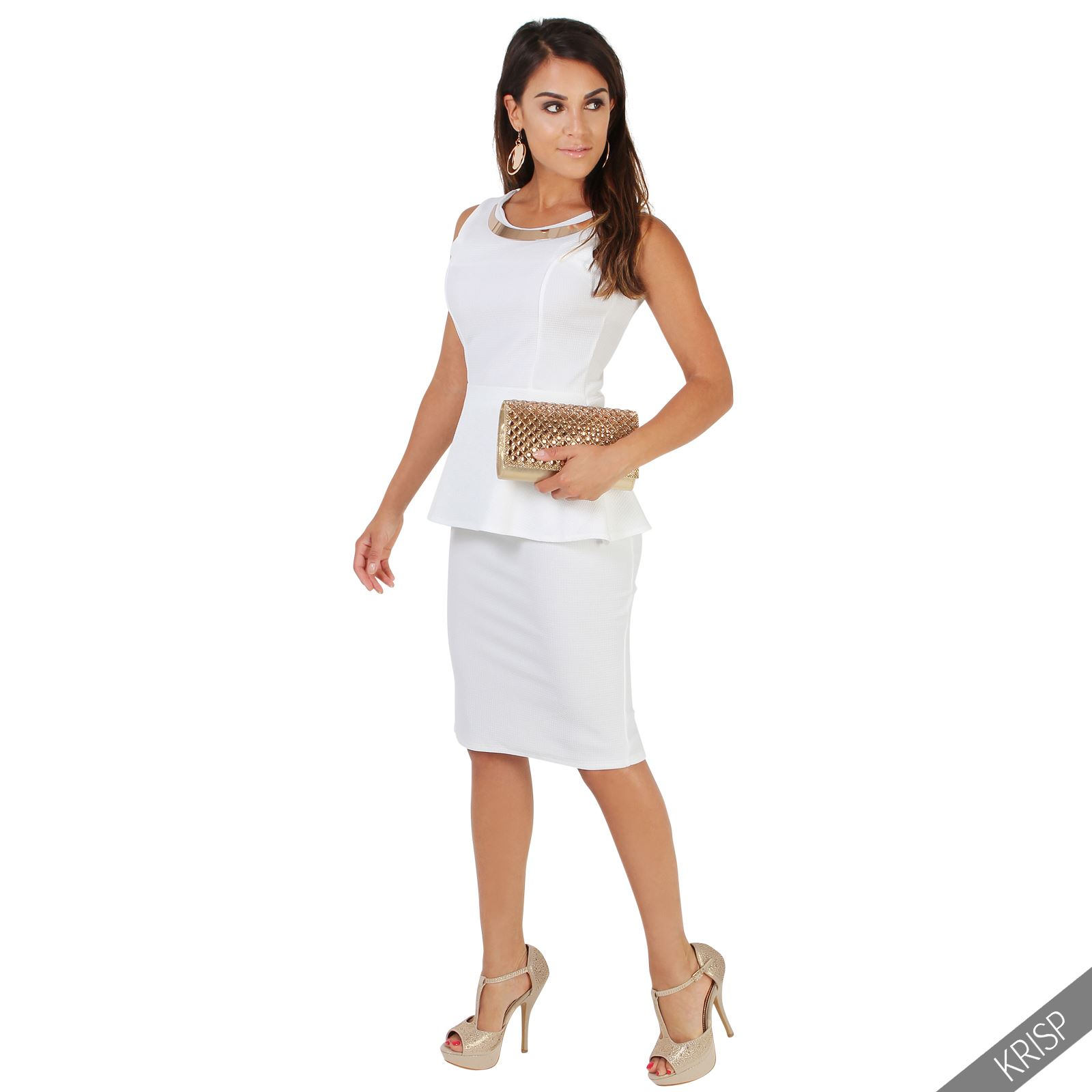 Womens Ladies Flared Skater Peplum Top Matching Bodycon Pencil Skirt Work Party