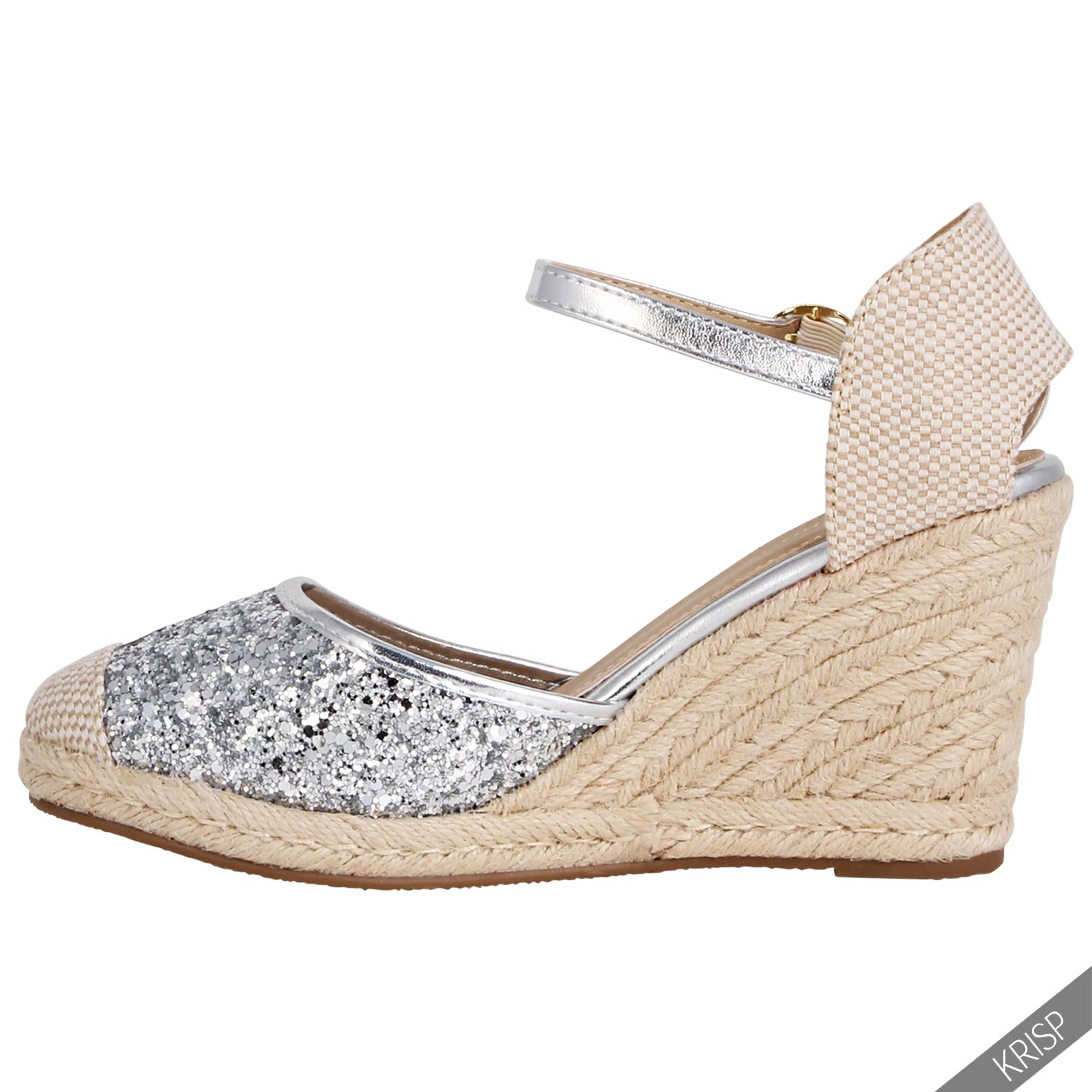 Womens Glitter Summer Espadrille Sandals High Heel Wedge ...