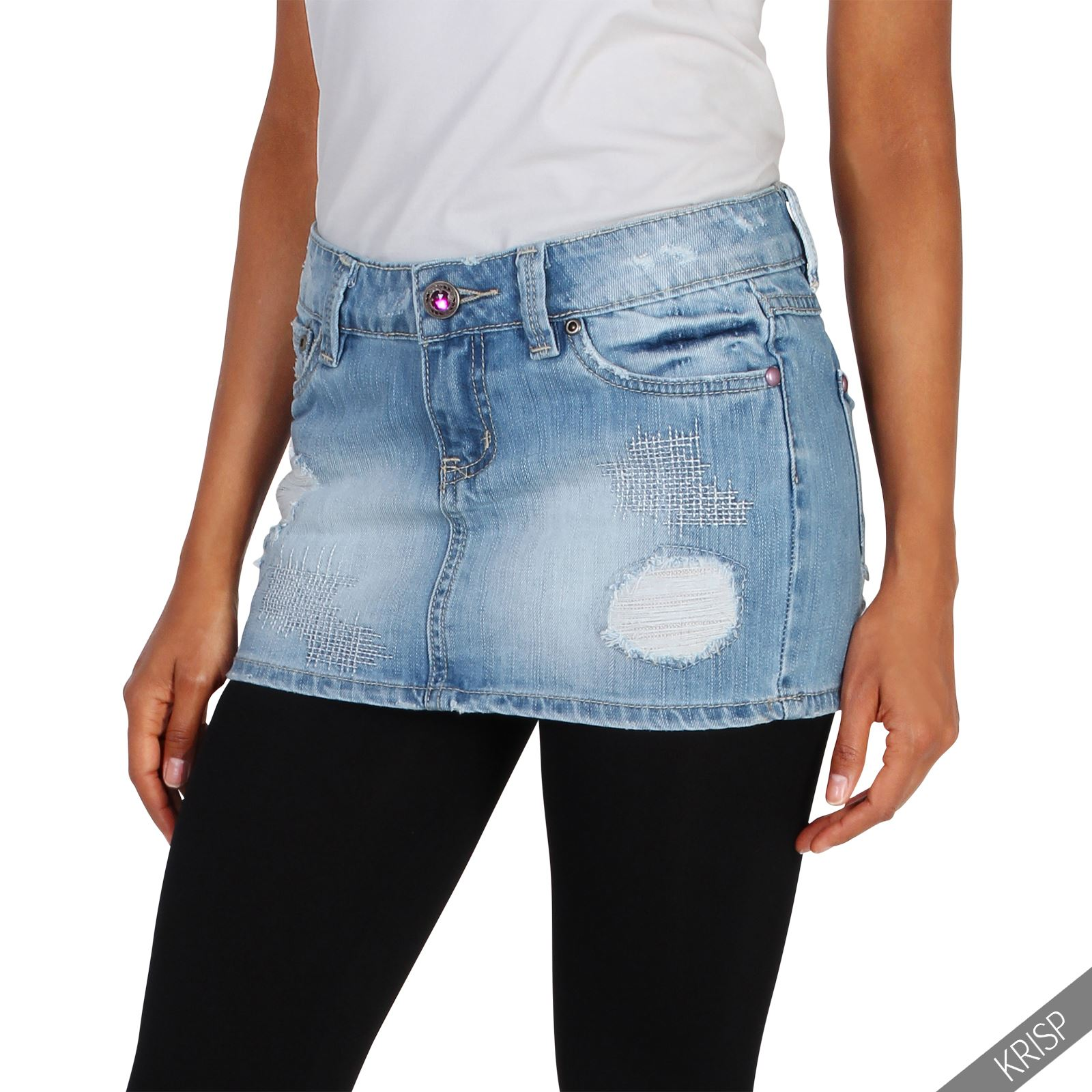 damen supermini jeans rock used look denim aufgerissen. Black Bedroom Furniture Sets. Home Design Ideas