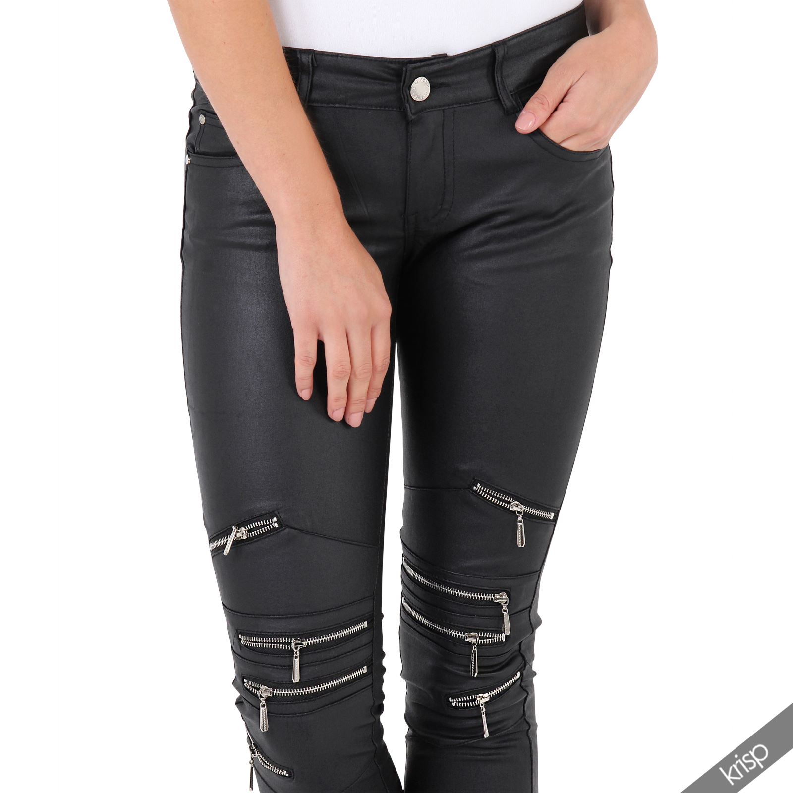 damen slim stretch hose lederoptik biker lederhose leggings zierrei verschl sse ebay. Black Bedroom Furniture Sets. Home Design Ideas