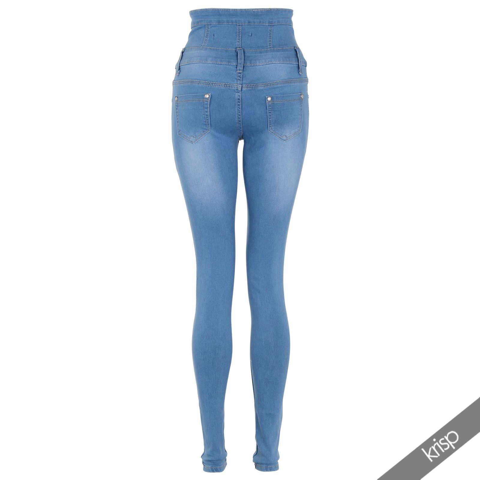 jeans skinny slim taille haute femme pantalon denim. Black Bedroom Furniture Sets. Home Design Ideas
