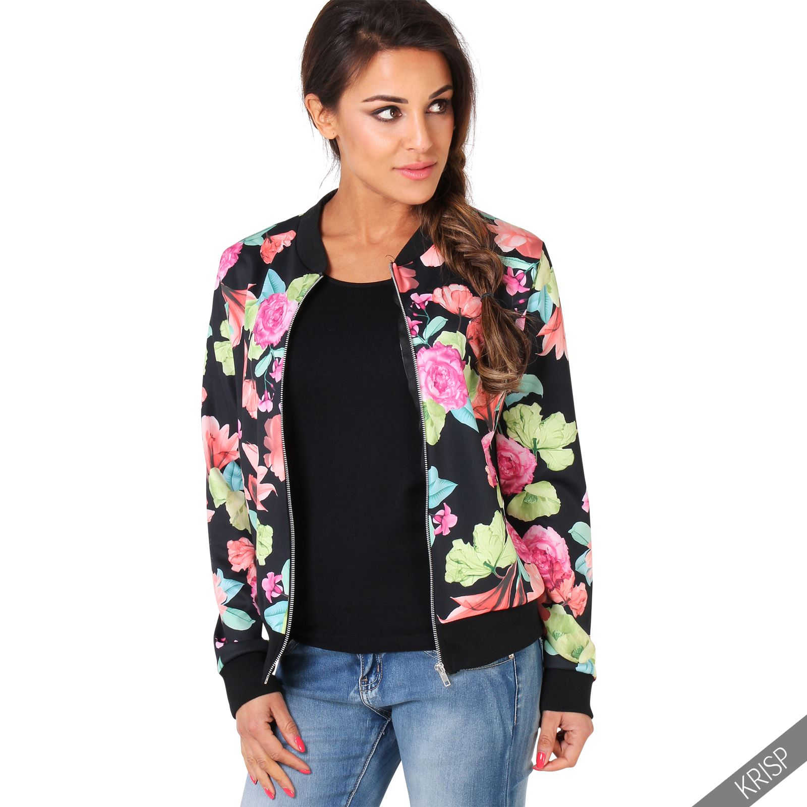 femme veste blouson l ger zipp bomber court fleuri manteau court s l ebay. Black Bedroom Furniture Sets. Home Design Ideas