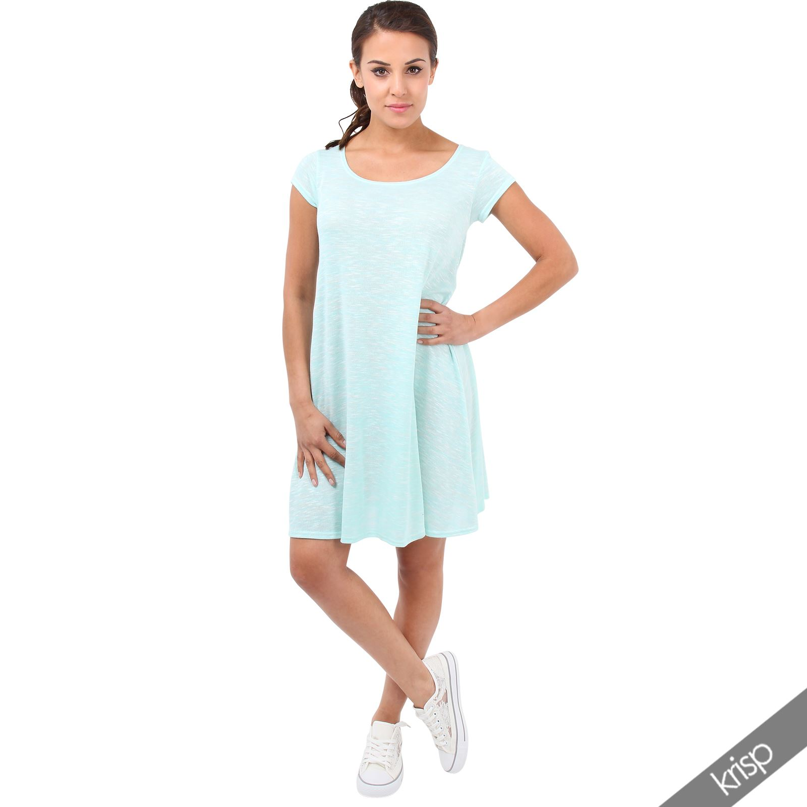 Womens Plain Smock Swing Mini Dress Lagenlook Shift Flared A Line Tunic Boho