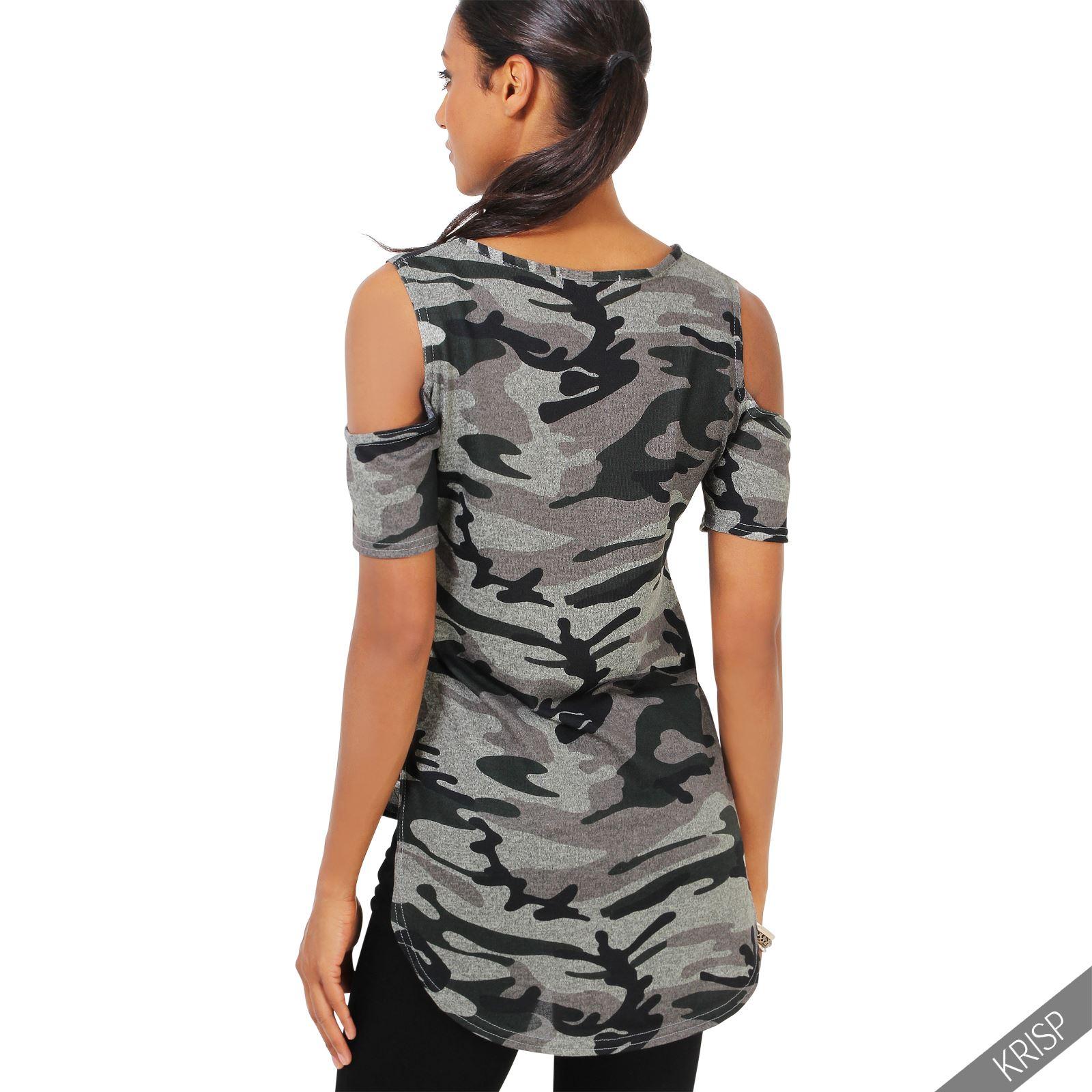 damen camouflage cut out t shirt top schulterfrei schulterausschnitt high low ebay. Black Bedroom Furniture Sets. Home Design Ideas