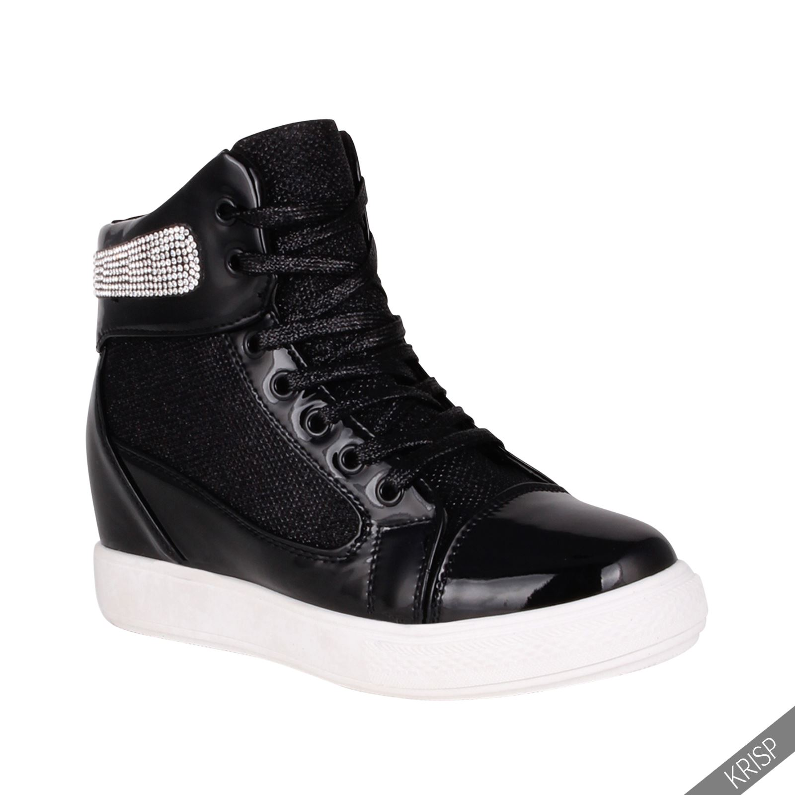 Womens Studded Concealed Wedge Trainers Sneakers High Tops ...