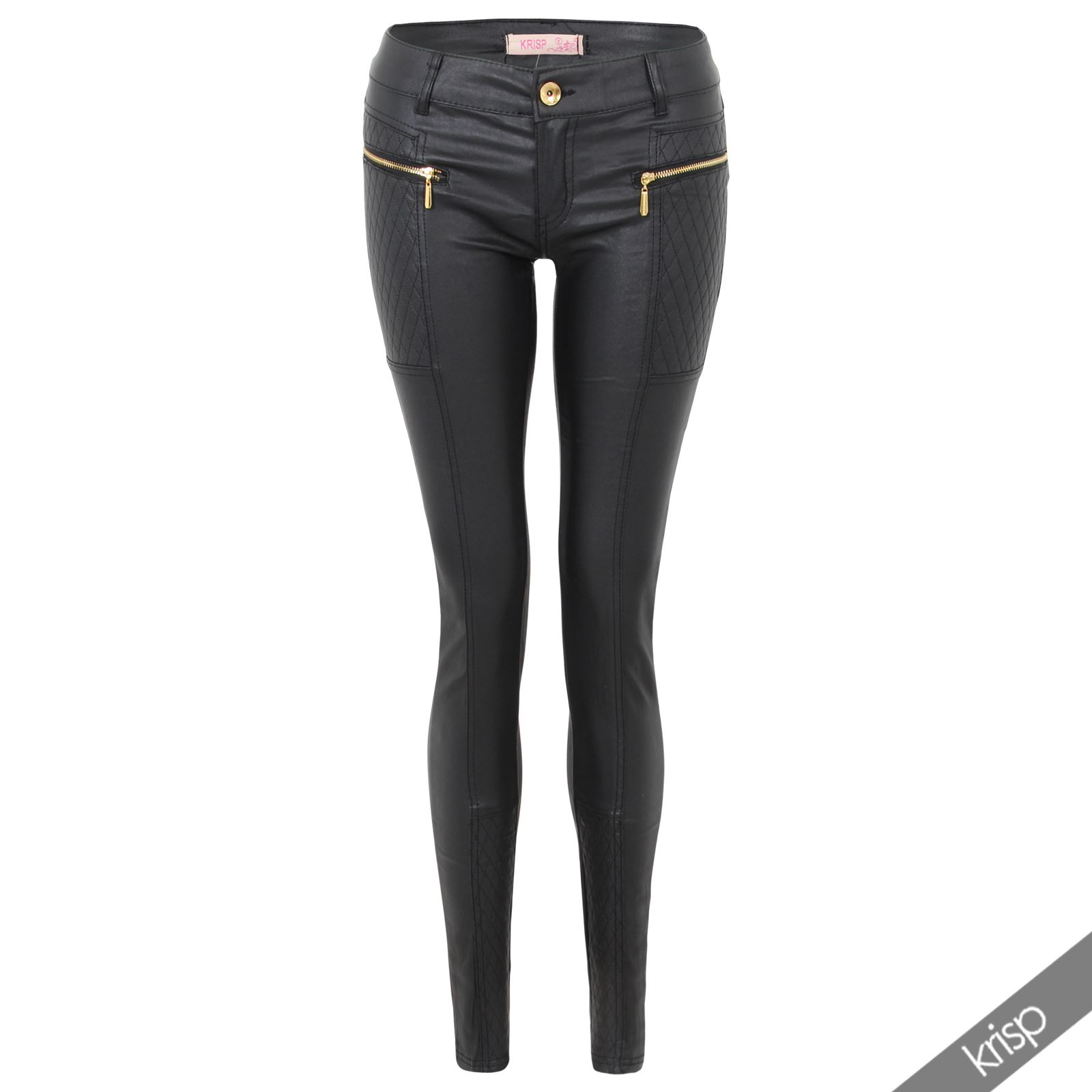 damen stretch leggings lederimitat leder biker hose skinny. Black Bedroom Furniture Sets. Home Design Ideas