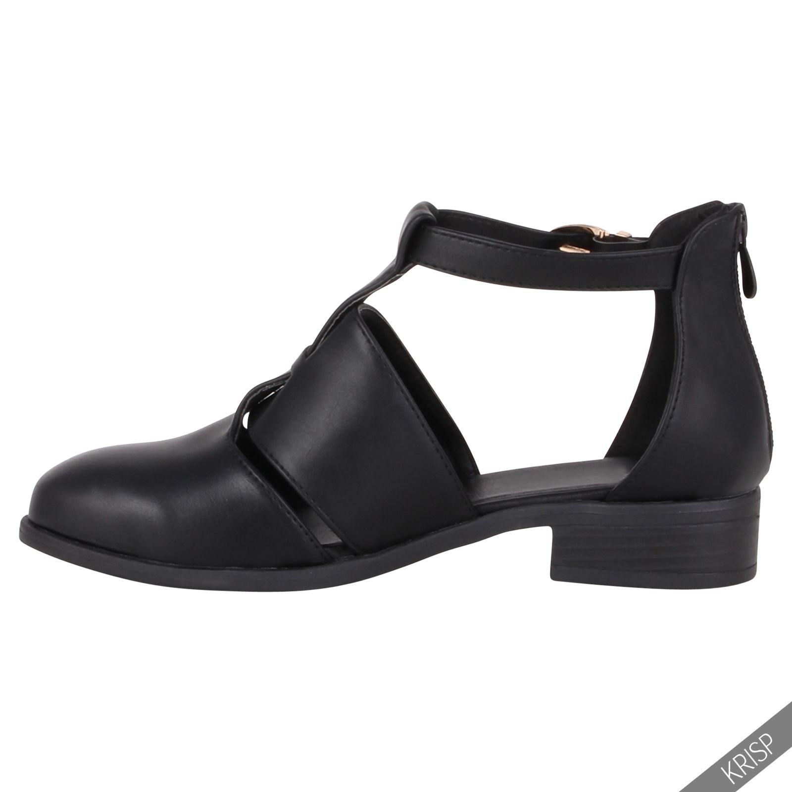 Damen Knöchelschuhe T-Riemen Cut-Out Boots Flache ...