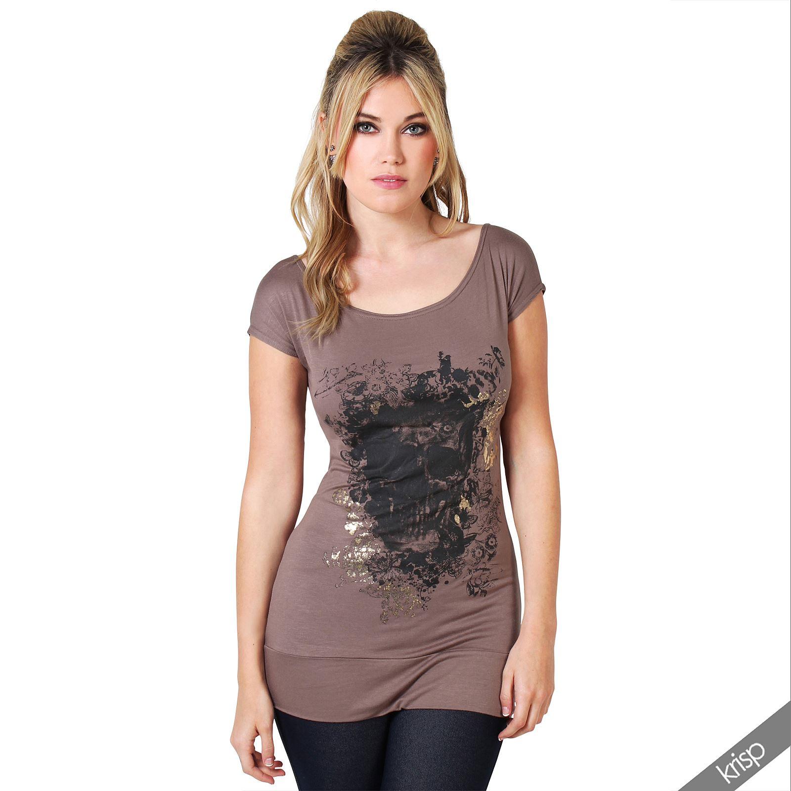 Womens skull print glitter tee shirt hip length short for Best short sleeve shirts
