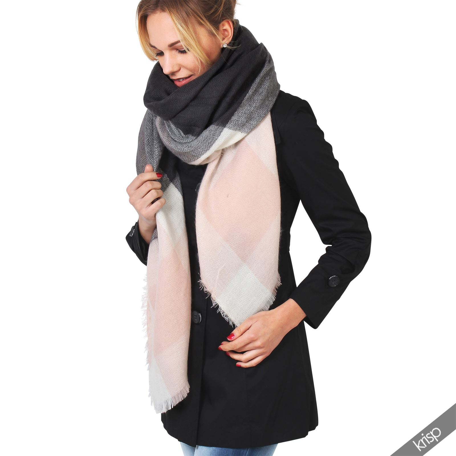 femme echarpe ch le carreaux patchwork tricot en laine douce oversize cape ebay. Black Bedroom Furniture Sets. Home Design Ideas