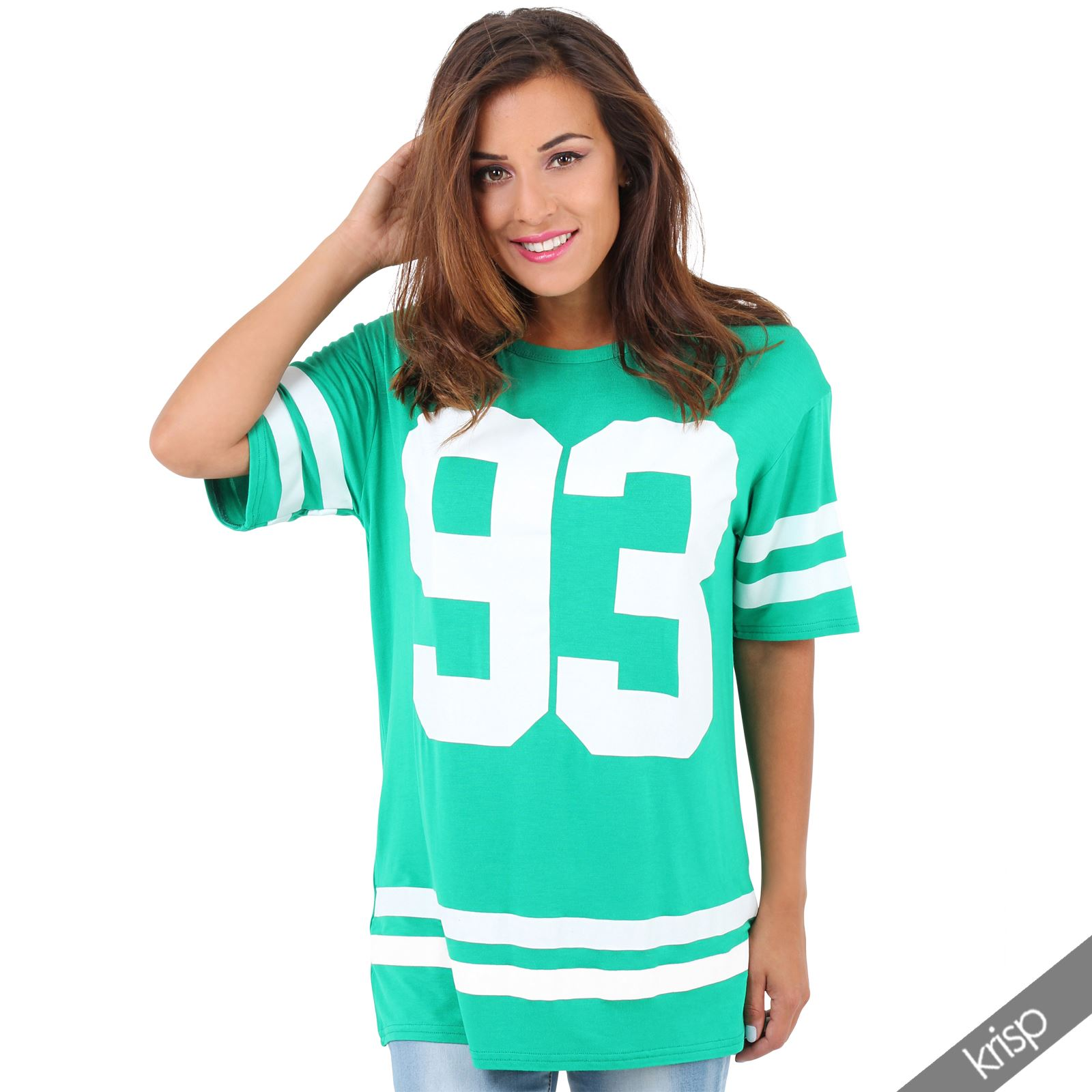 New womens american varsity top oversized t shirt football for Best t shirt women