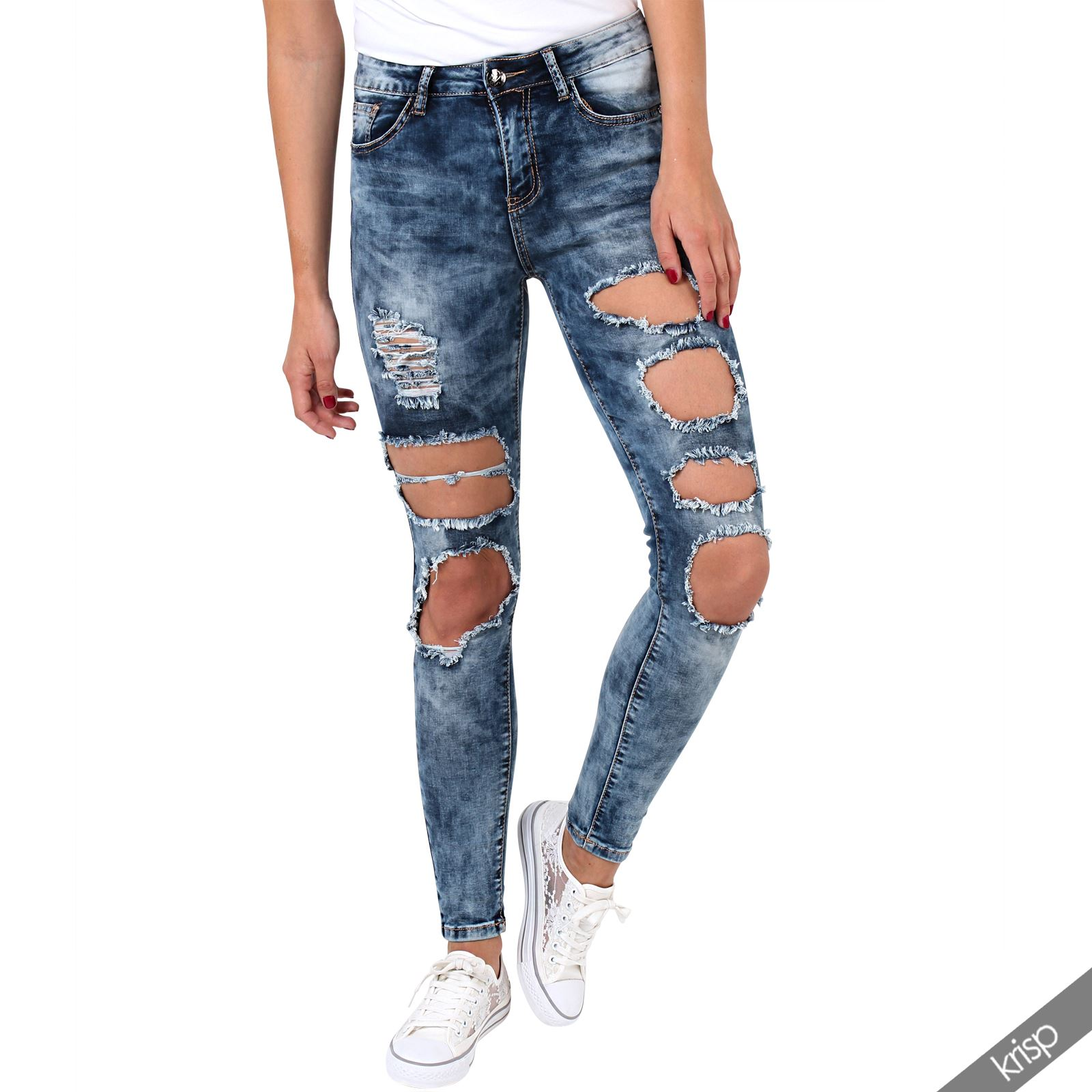 damen aufgerissene retro jeans hoher bund slim fit skinny stretch denim hose ebay. Black Bedroom Furniture Sets. Home Design Ideas