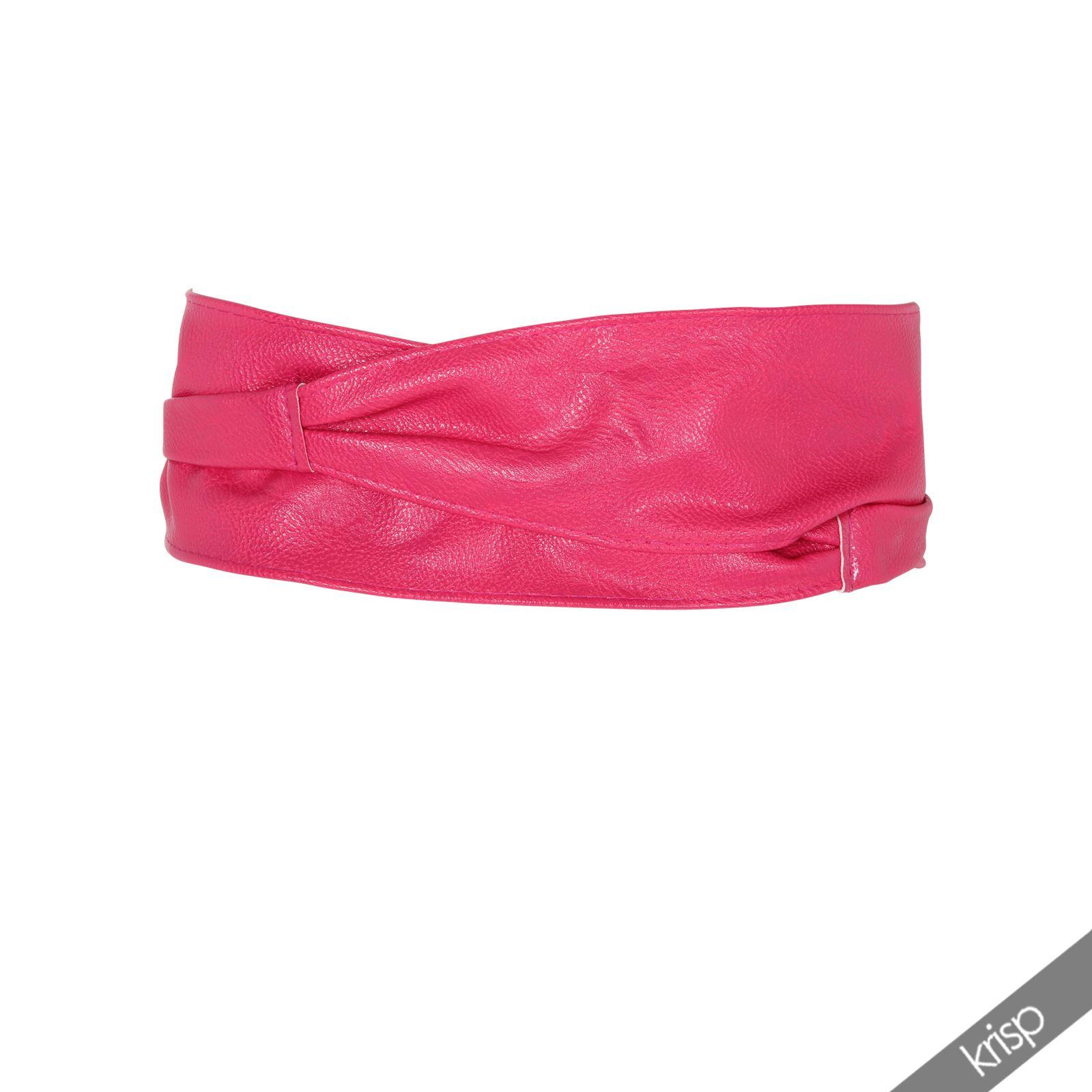 Womens Soft PU Faux Leather Self Tie Wrap Around Obi Waist ...