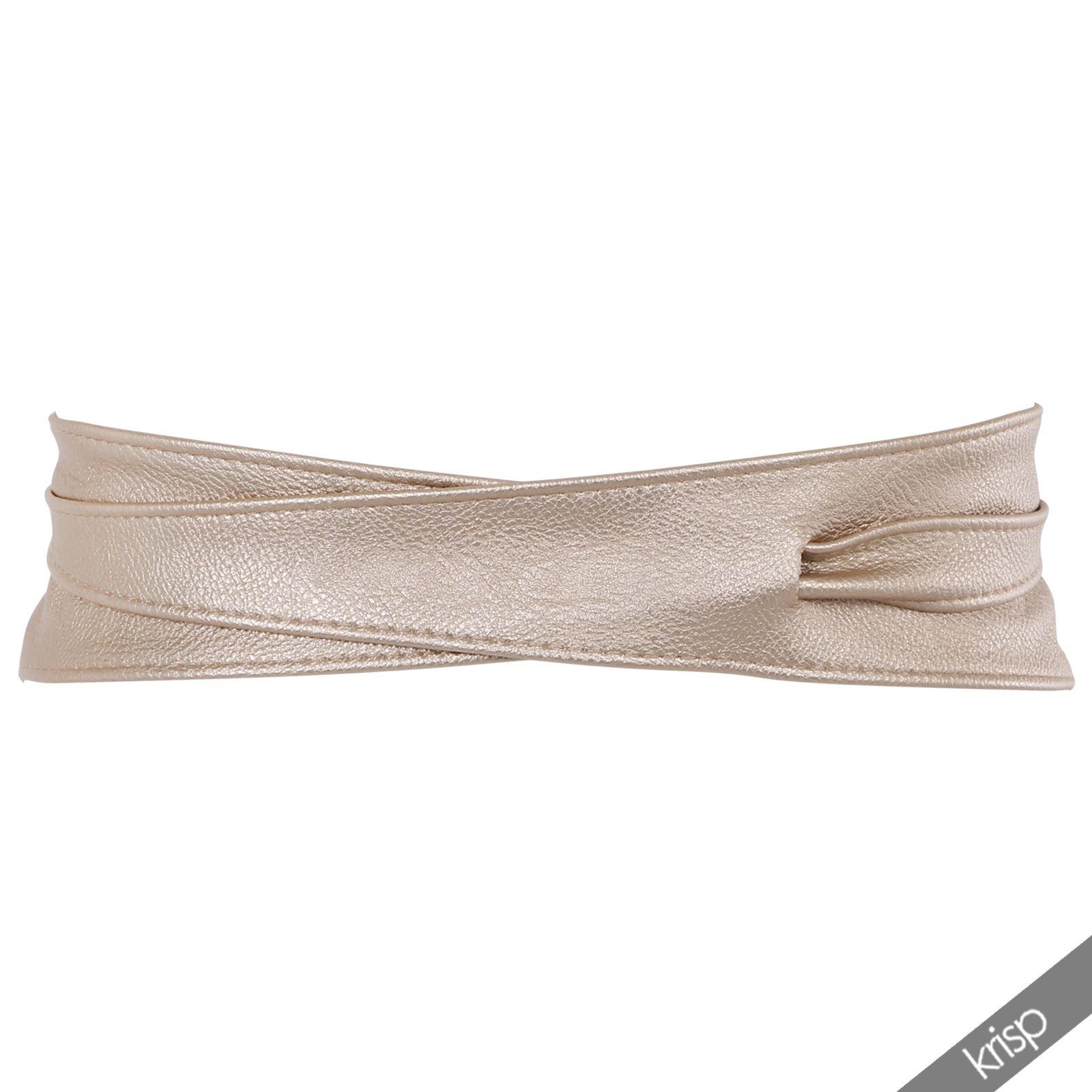 womens soft leather studded self tie wrap around obi waist