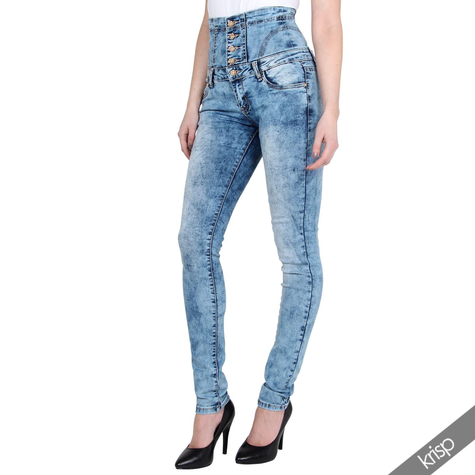 damen high waist jeans breiter hoher bund stretch slim skinny denim acid wash ebay. Black Bedroom Furniture Sets. Home Design Ideas