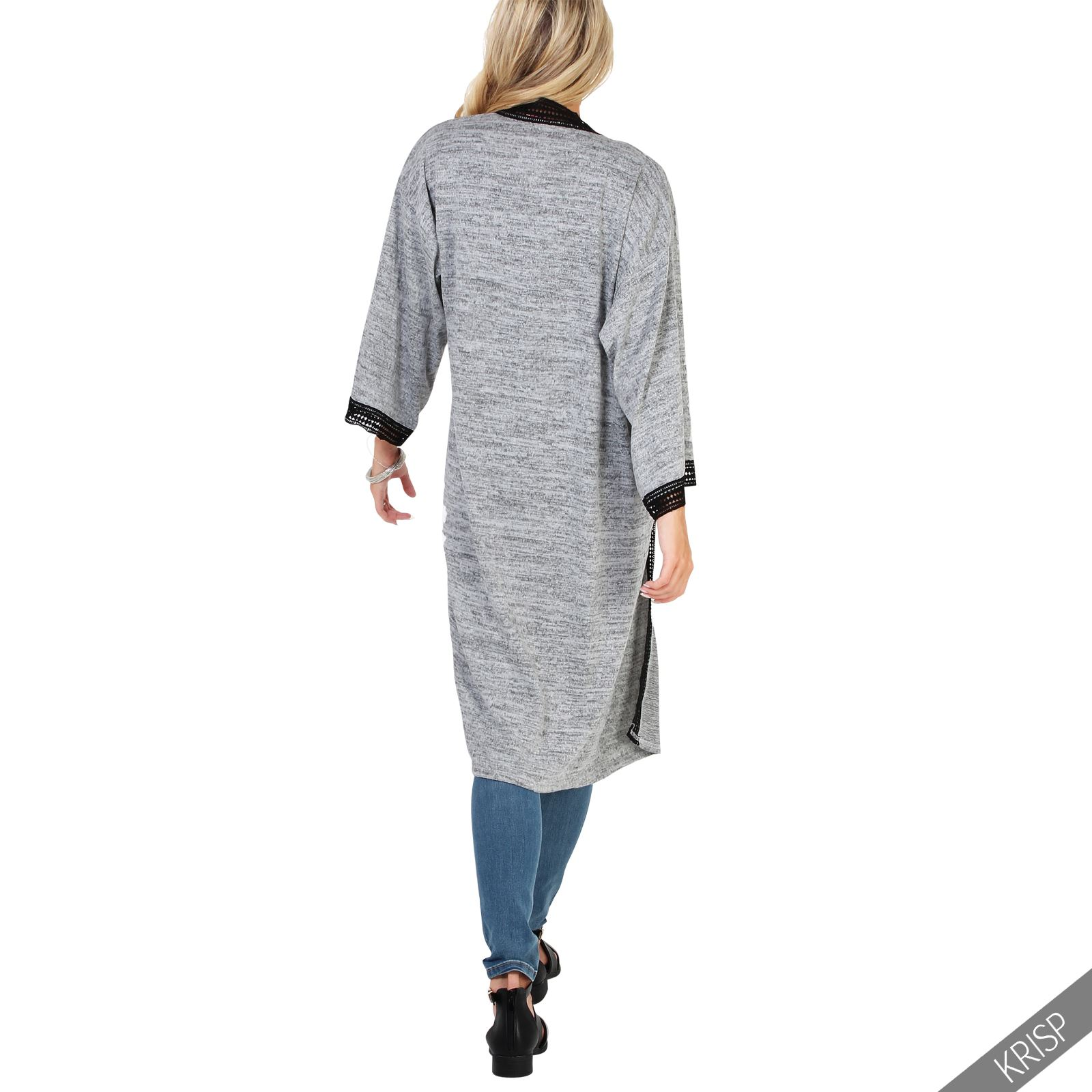 femmes kimono long cardigan manche longue veste longue fashion boho tricot ebay. Black Bedroom Furniture Sets. Home Design Ideas