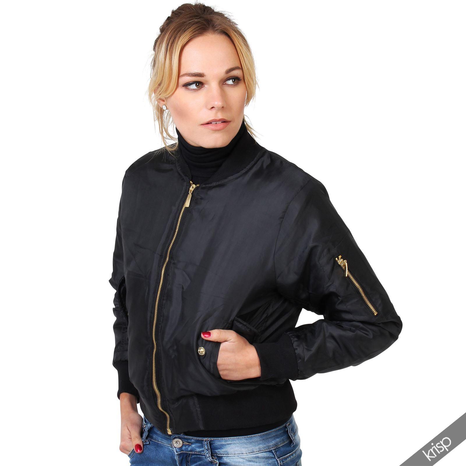 femmes blouson aviateur doudoune rembourr manche d tail zip double face ebay. Black Bedroom Furniture Sets. Home Design Ideas
