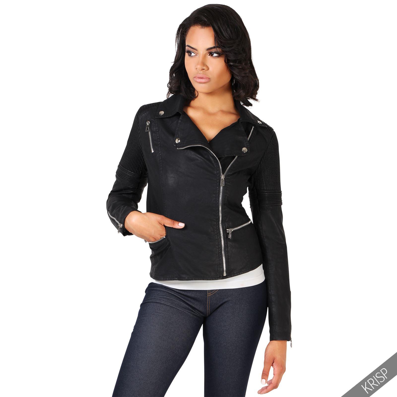 femmes veste biker clous cintr e blouson motard rembourr manteau moto classique ebay. Black Bedroom Furniture Sets. Home Design Ideas