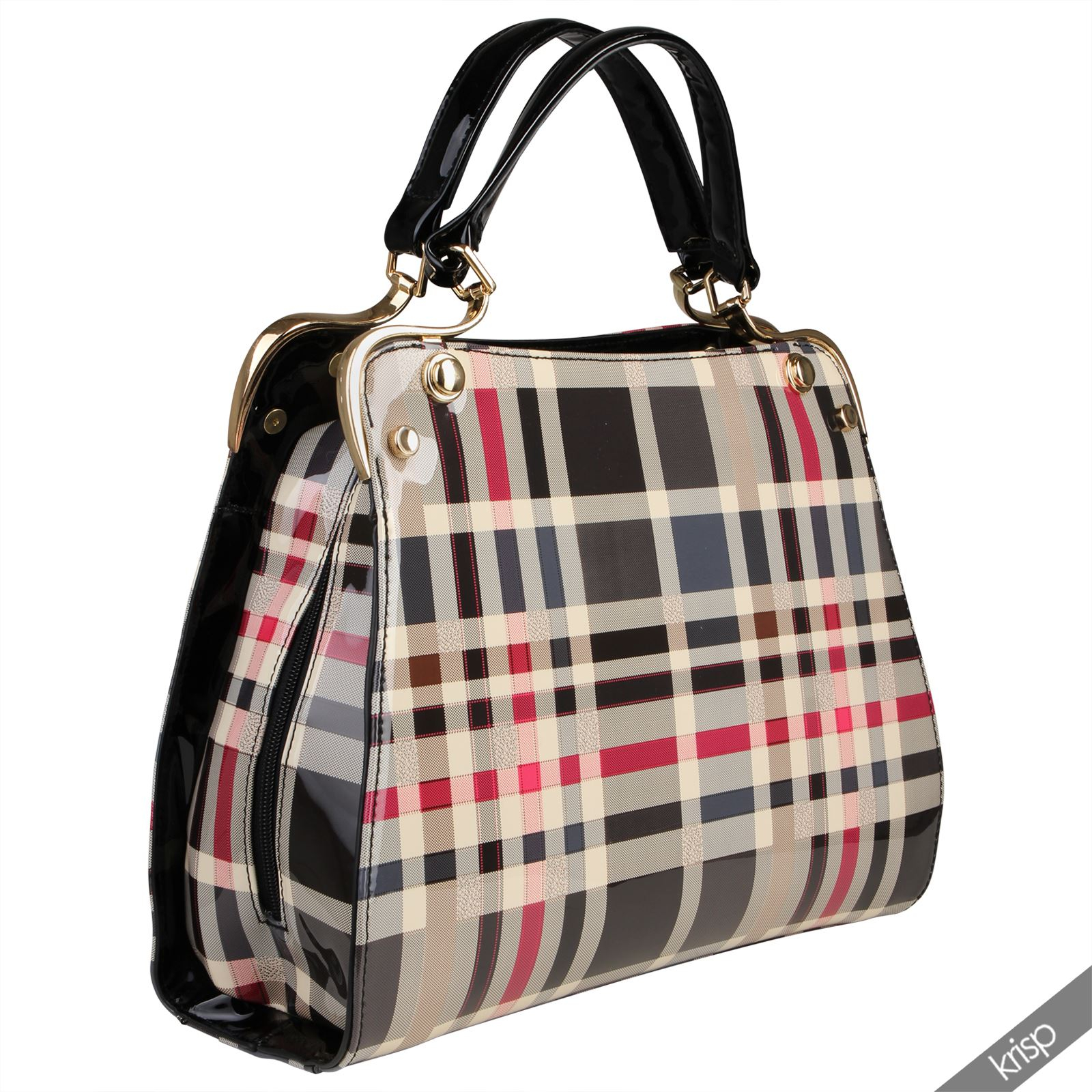 Womens Tartan Checked Patent Smile Tote Hand Bag Hard Case Satchel