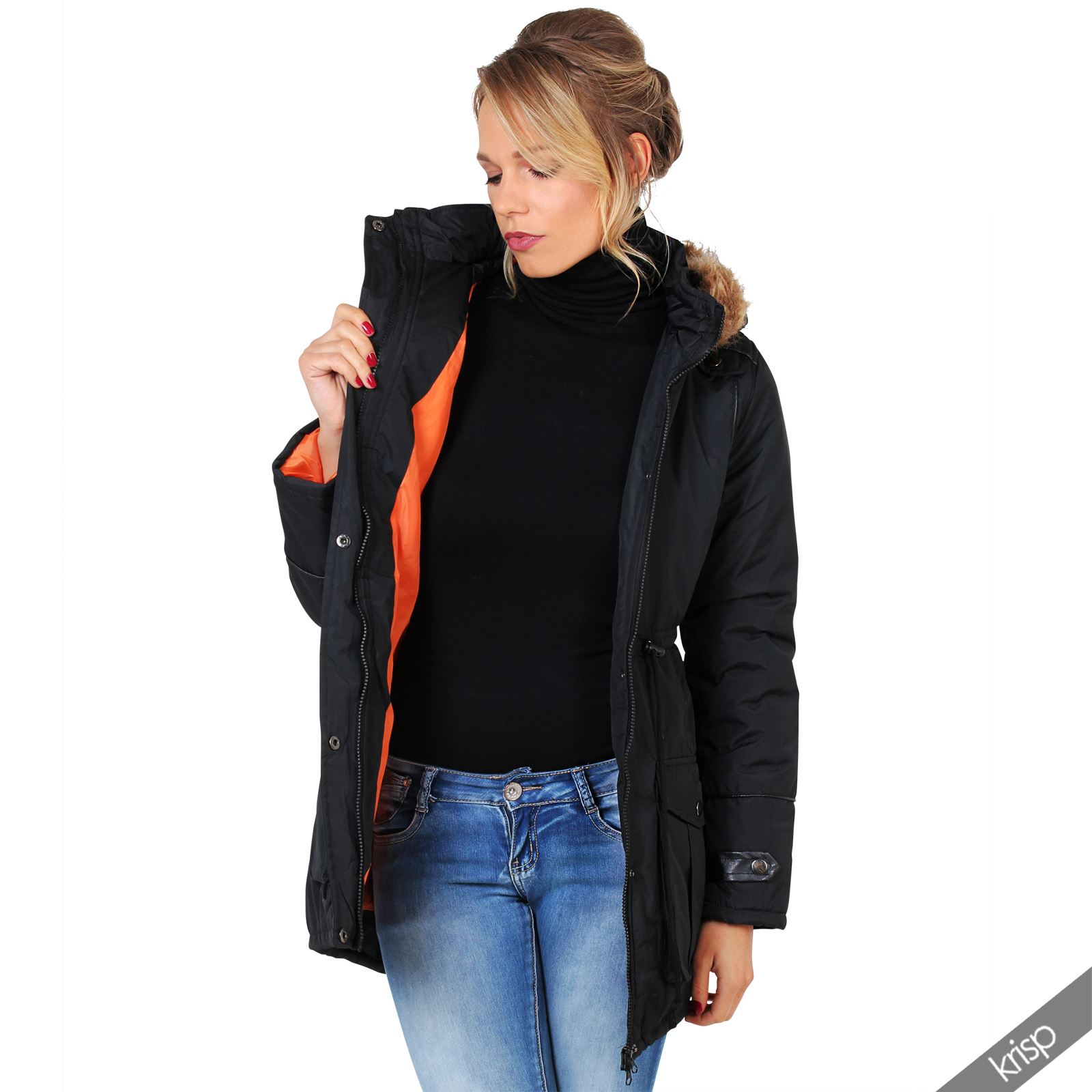 Womens Fur Hood Leather Trim Long Fishtail Parka Anorak ...