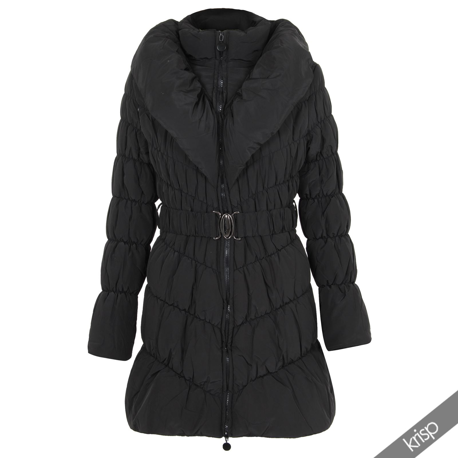 Womens Padded Quilted Puffer Puffa Fitted Zip Warm Down