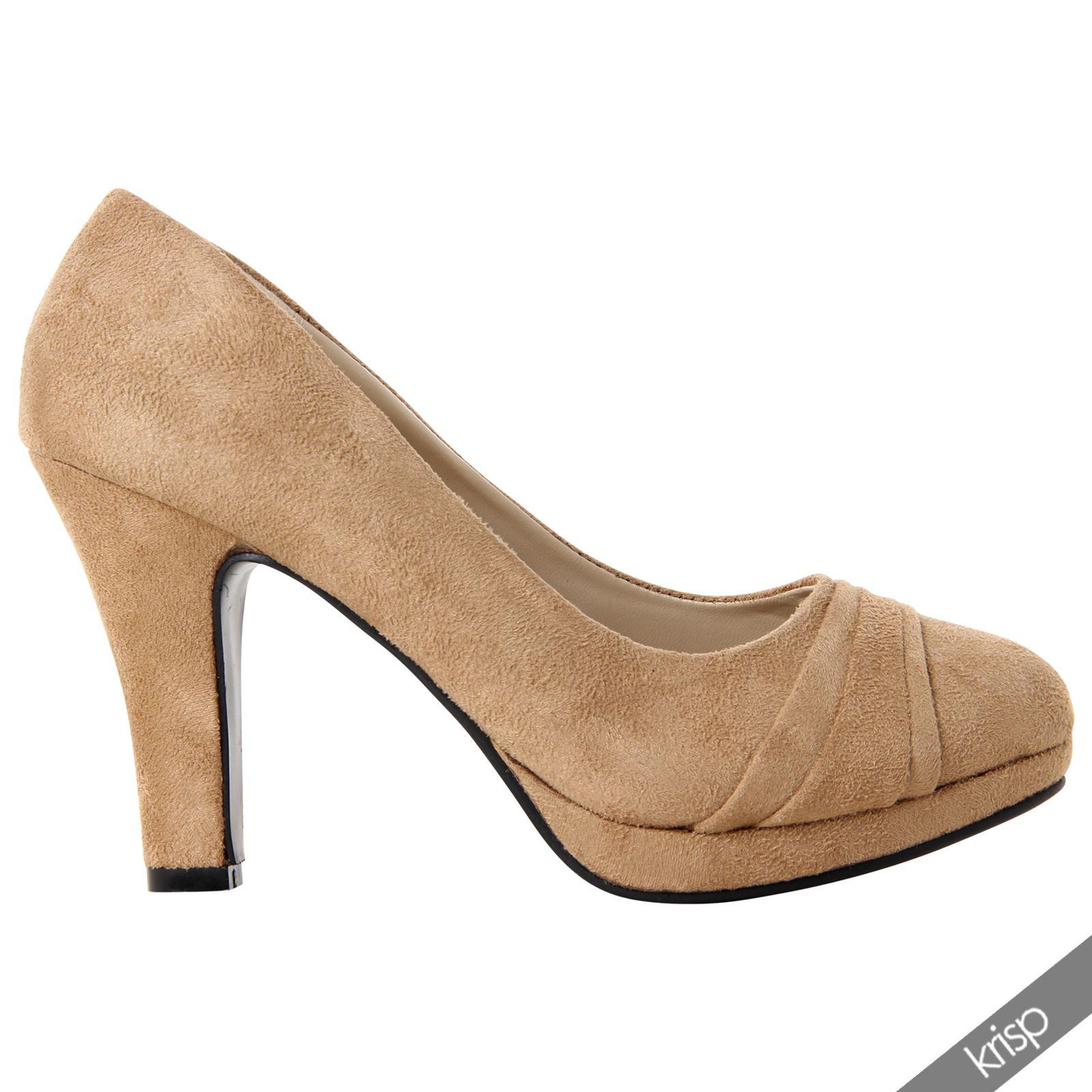 womens chunky block high heel court shoes suede ruffle toe