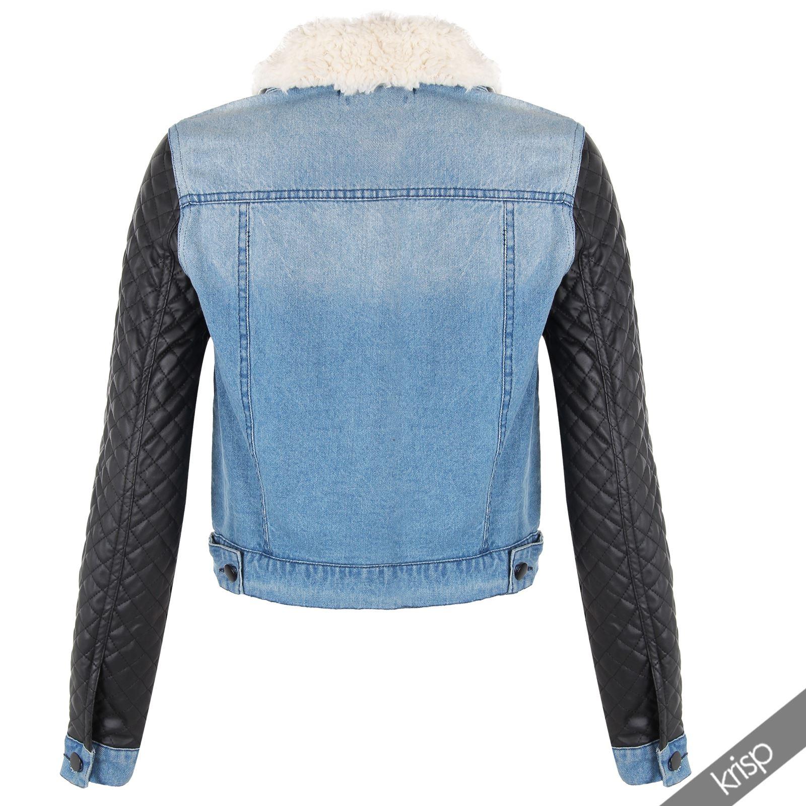 krisp damen jeansjacke denim jeans jacke bikerjacke. Black Bedroom Furniture Sets. Home Design Ideas