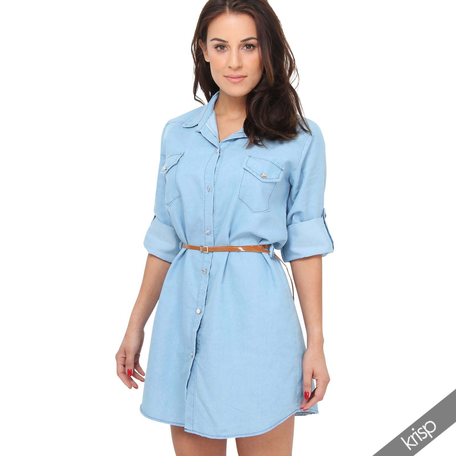 womens denim mini shirt dress belted tunic long collared