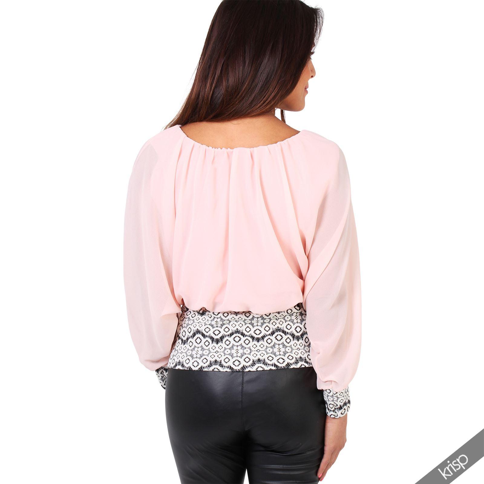 femme top haut blouse contraste mousseline piss glamour sexy ebay. Black Bedroom Furniture Sets. Home Design Ideas