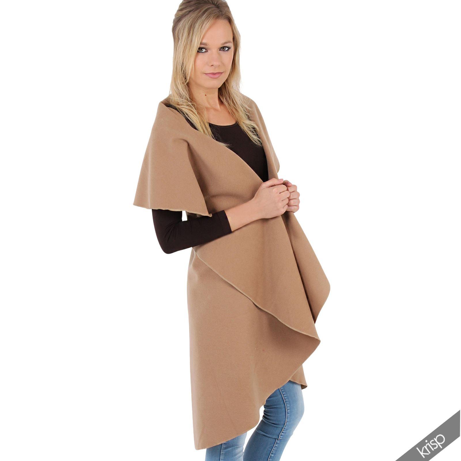 veste longue cape sans manches laine cardigan kimono femme ebay. Black Bedroom Furniture Sets. Home Design Ideas