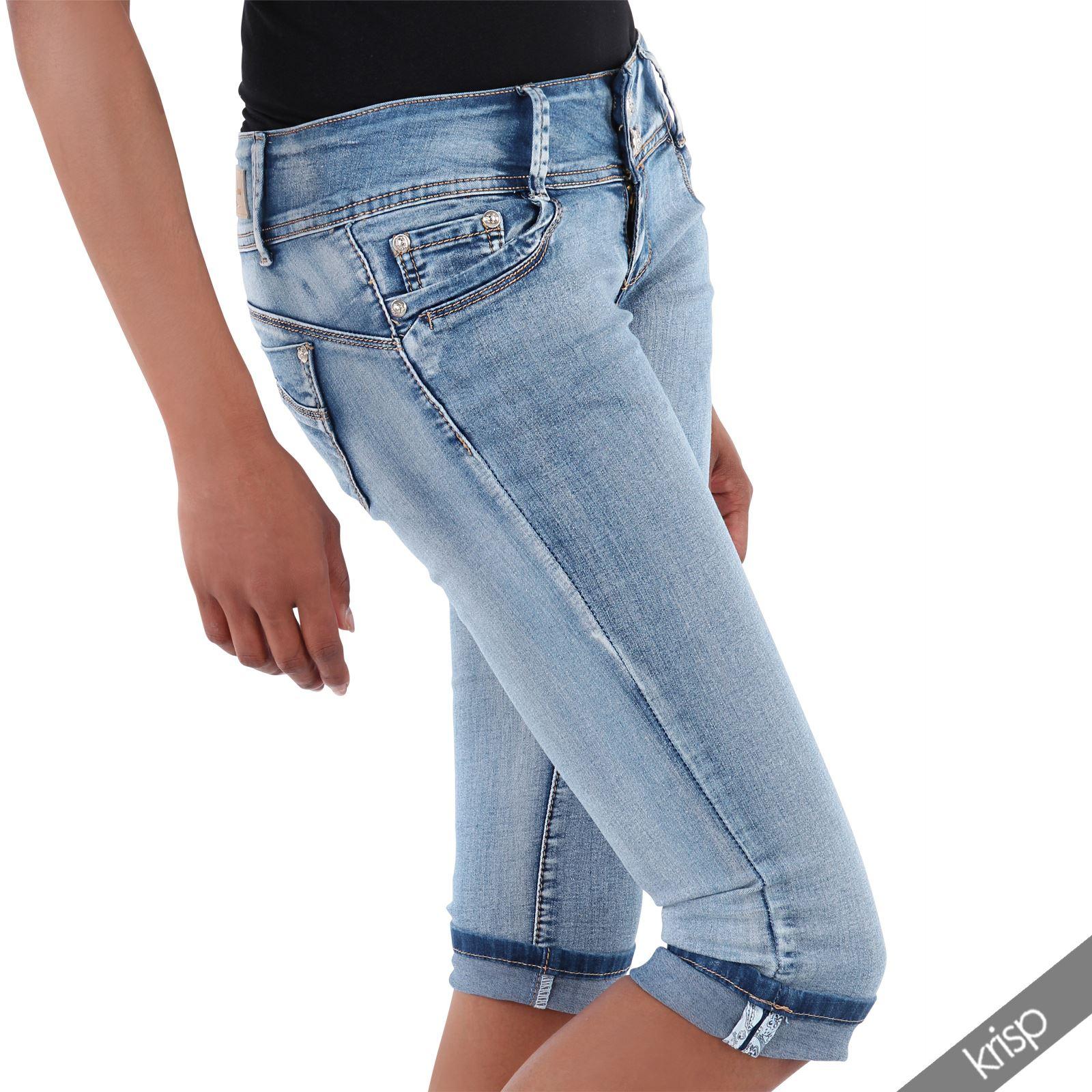 damen knielange slim jeans caprihose shorts hot pants skinny stretch jeggings ebay. Black Bedroom Furniture Sets. Home Design Ideas