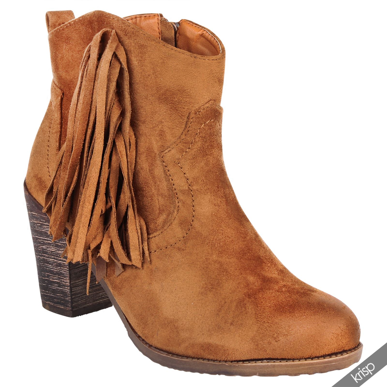 womens boho fringed suede cowboy ankle boots mid high