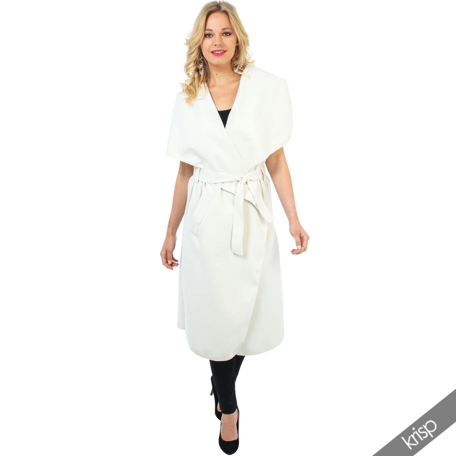 damen rmelloser langer mantel trechcoat cardigan cape sommermantel schalkragen ebay. Black Bedroom Furniture Sets. Home Design Ideas