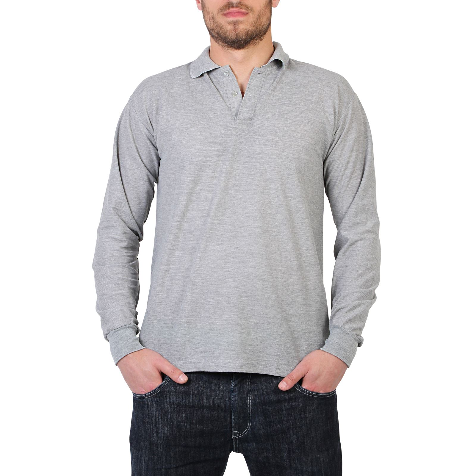 Mens casual long sleeve polo t shirt top plain regular for Mens polo shirts online