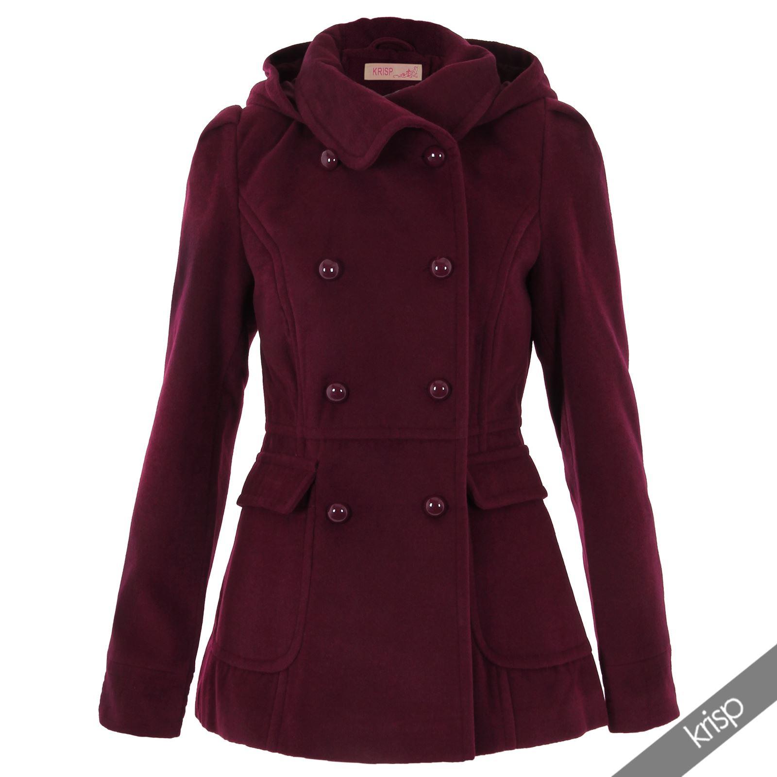 Hooded wool coats women
