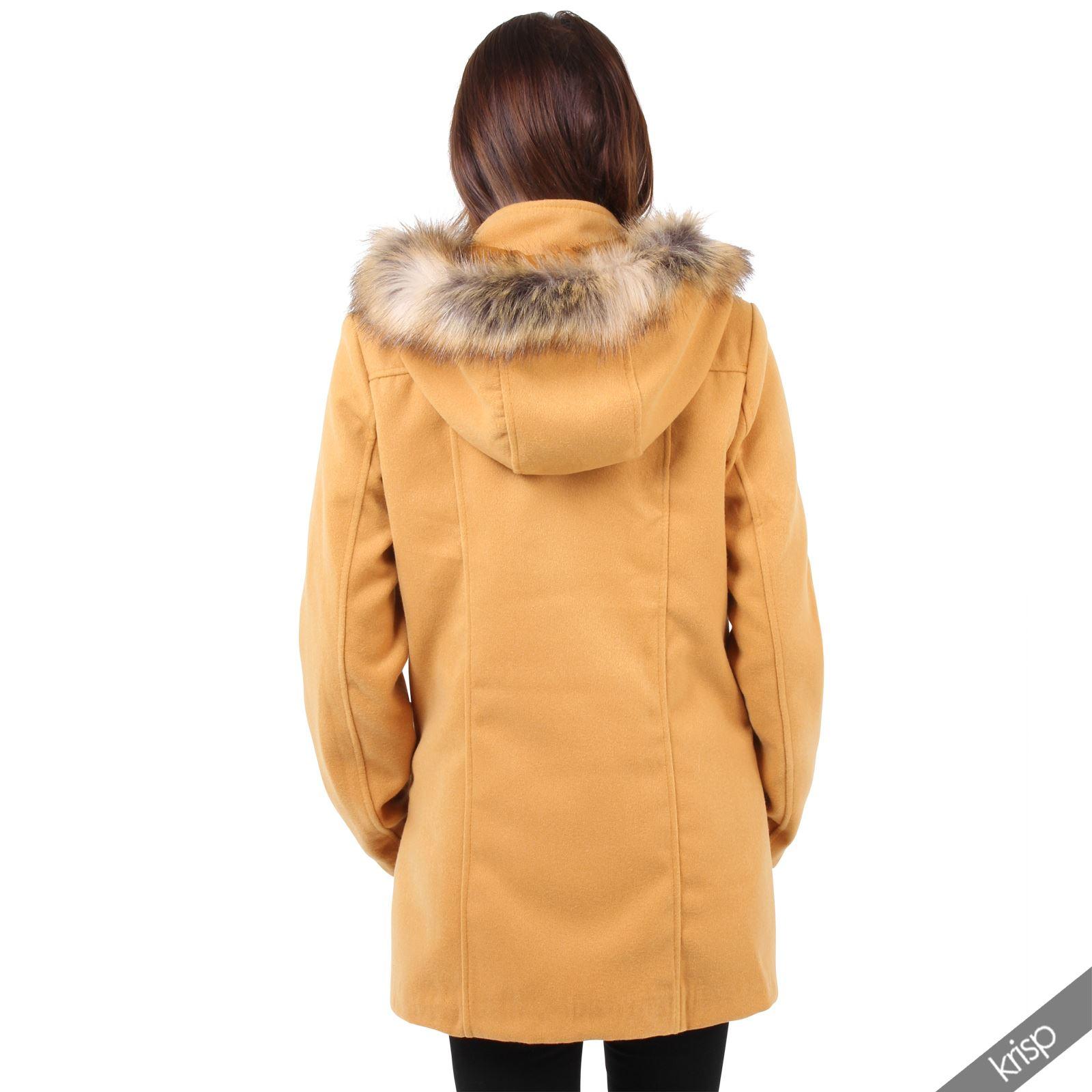 damen jacke kurzer mantel abnehmbare kapuze fell hoodie wolle bergangsjacke ebay. Black Bedroom Furniture Sets. Home Design Ideas