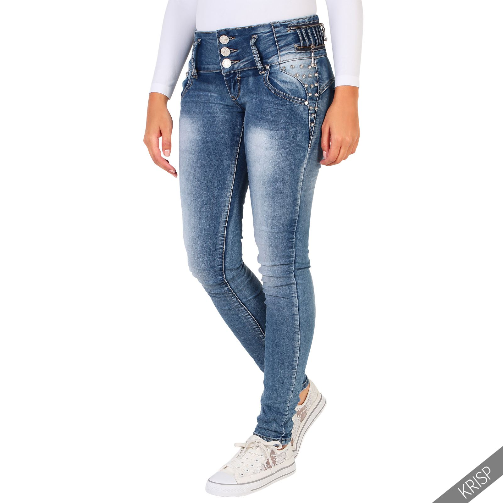 Women Ladies Fashion Skinny Jeans Hipster Pants Slim Fit Leg Faded Stretch Denim