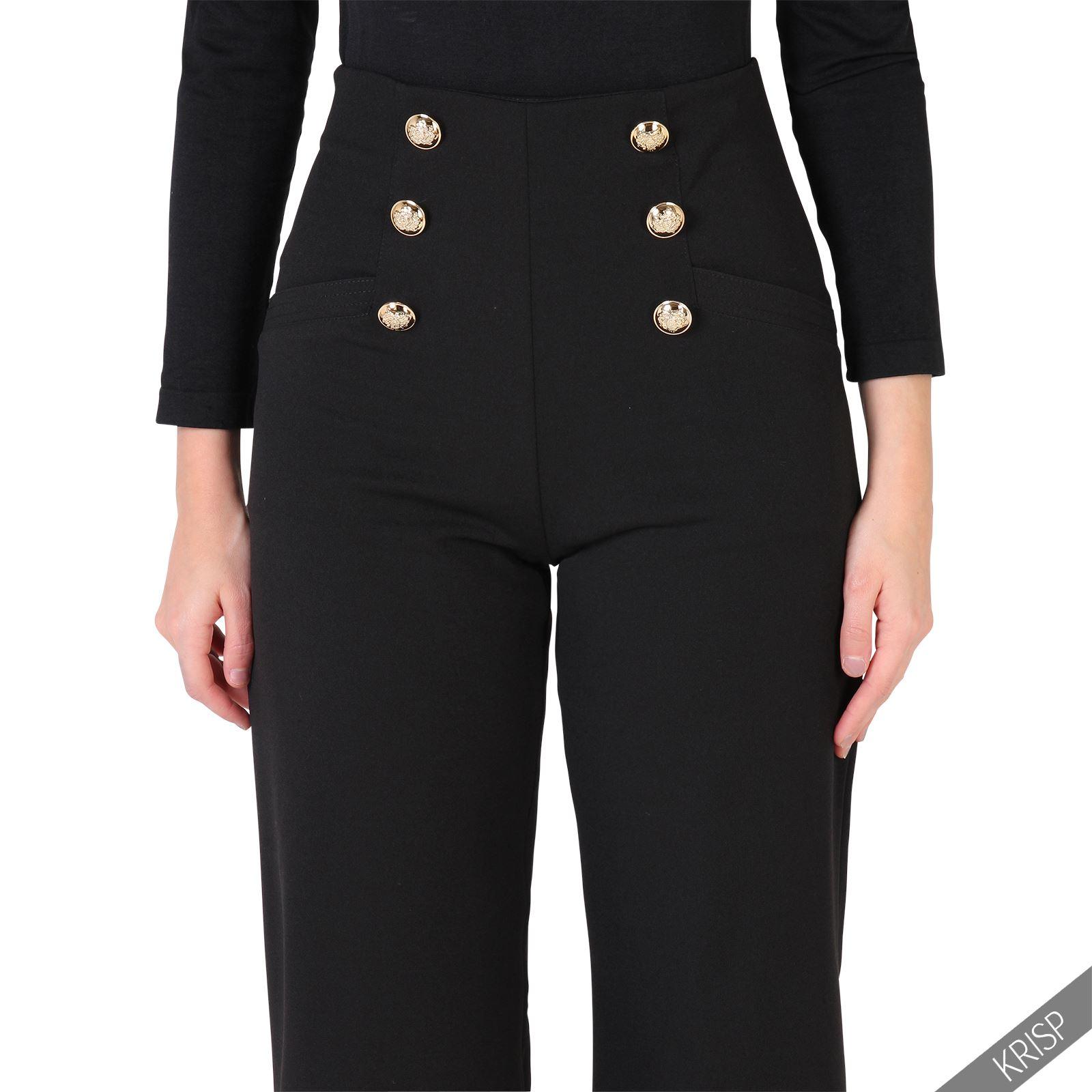 femme pantalon boutons dor s taille haute nautique jambes larges ebay. Black Bedroom Furniture Sets. Home Design Ideas