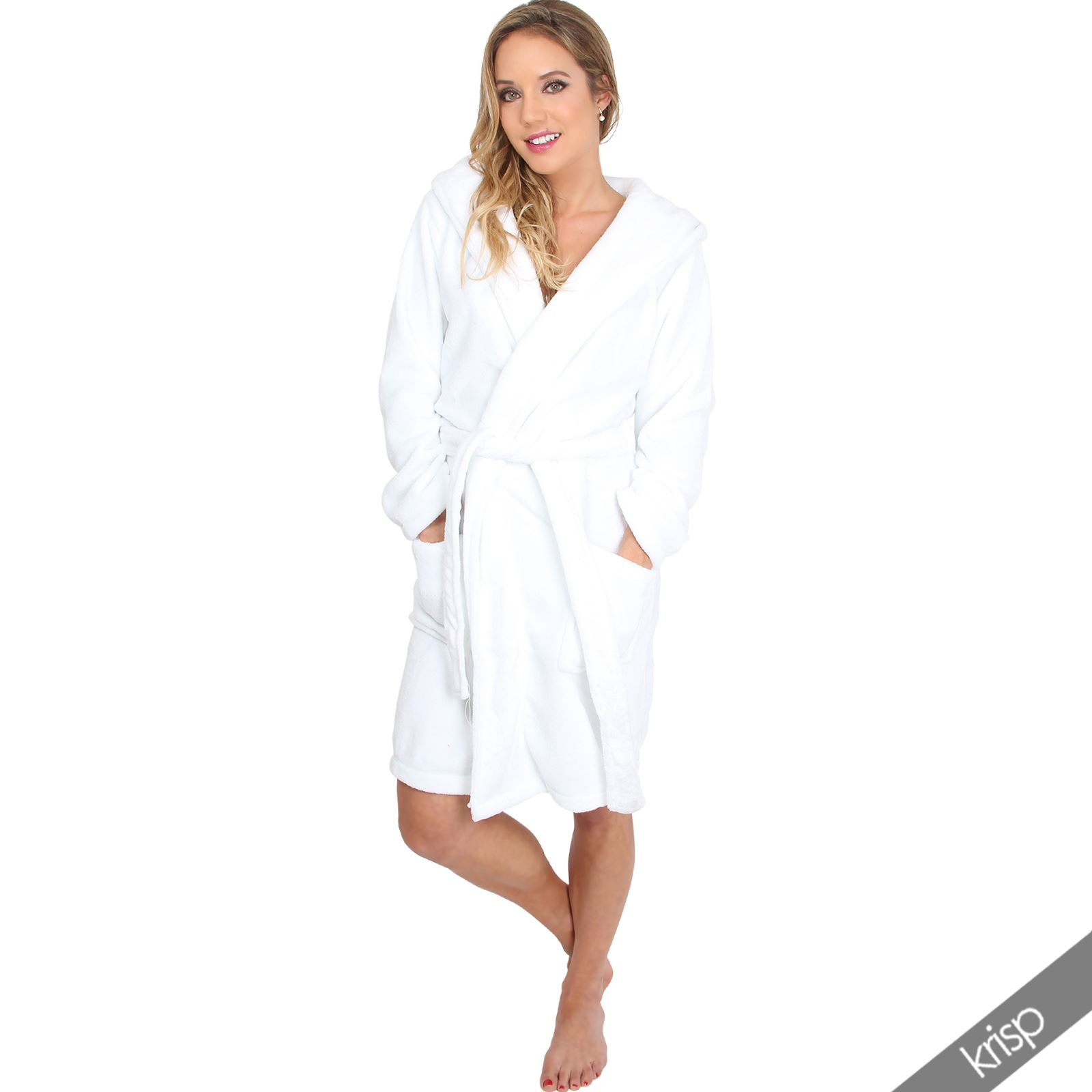 Bathrobe: Womens Hooded Fleece Bathrobe Soft Dressing Gown Plain
