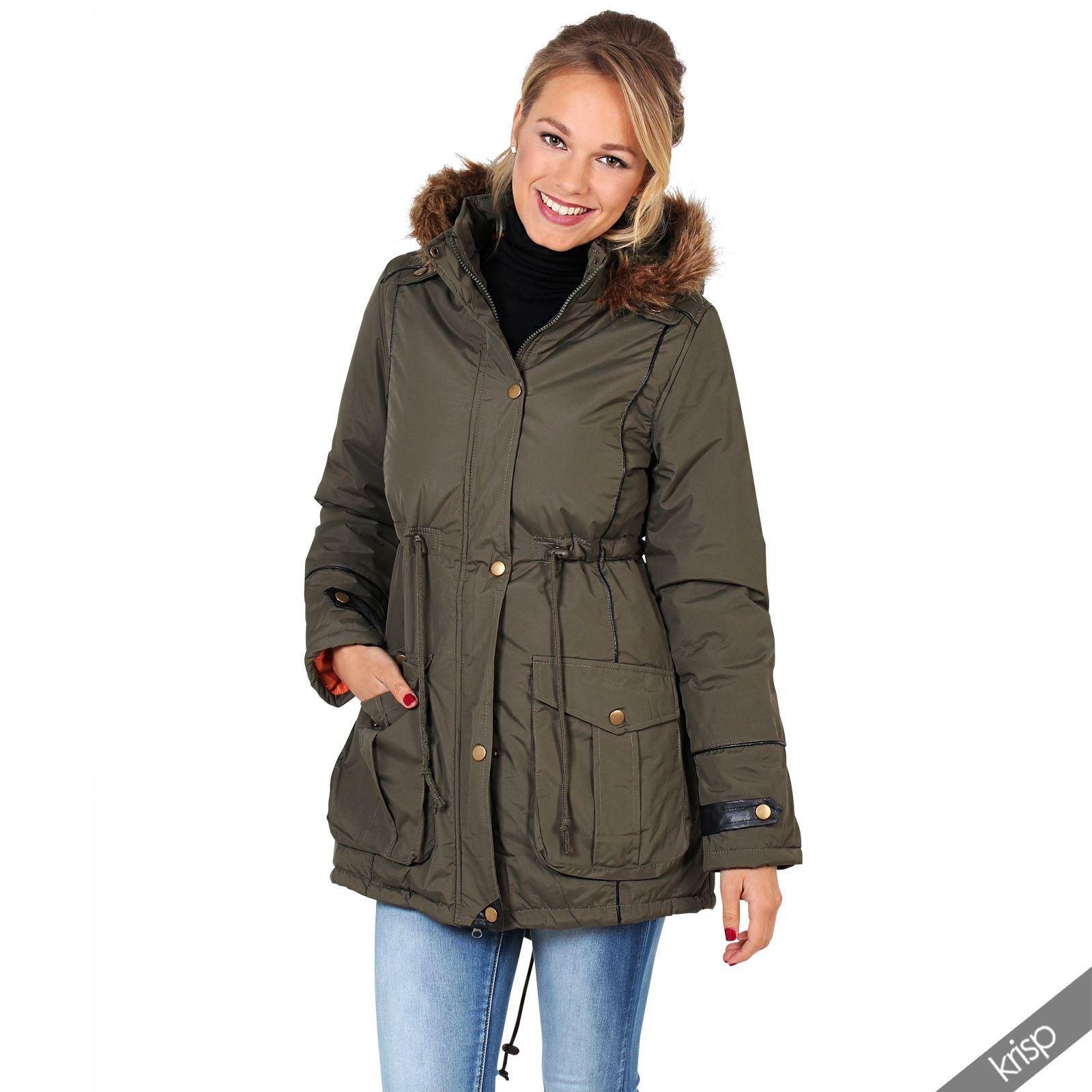 damen parka mit fellbesetzter kapuze winter jacke mantel anorak warm leicht ebay. Black Bedroom Furniture Sets. Home Design Ideas