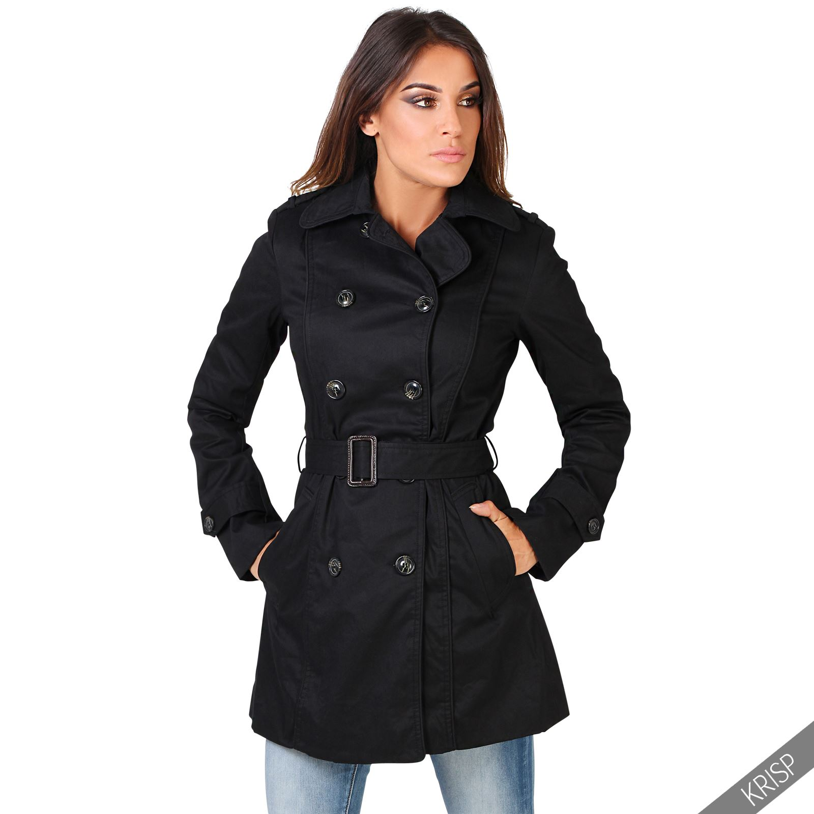 damen zweireihiger kurzmantel trenchcoat parka leichter bergangsmantel classic ebay. Black Bedroom Furniture Sets. Home Design Ideas