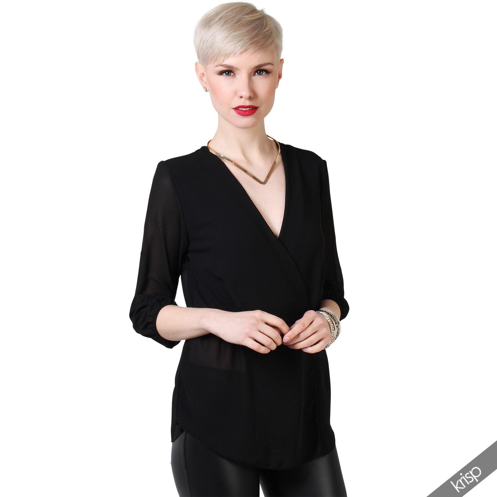 damen chiffon bluse in wickeloptik tailliert 3 4 rmel v. Black Bedroom Furniture Sets. Home Design Ideas
