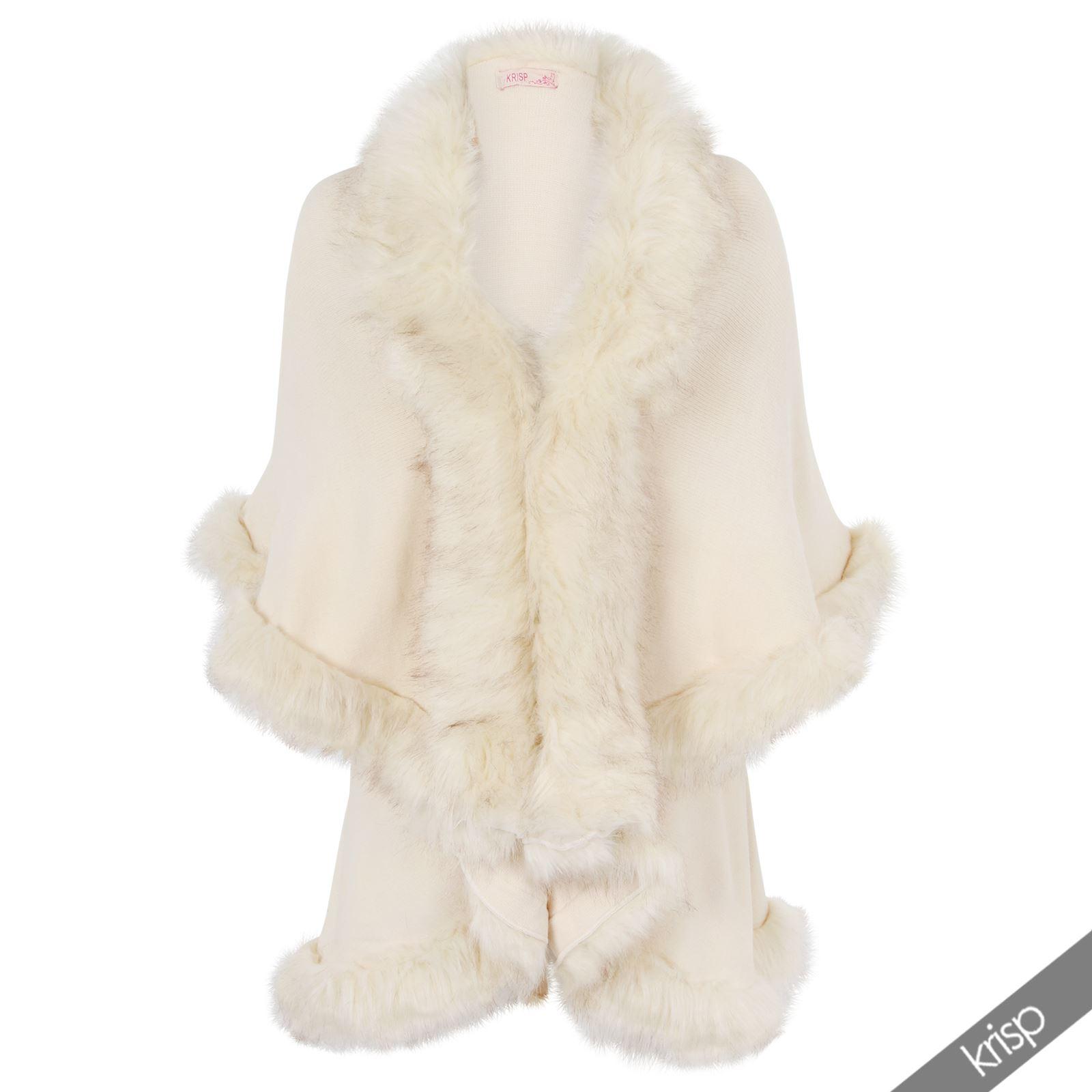 Femme laine tricot bordure en fourrure cape poncho long hiver haussement manteau top cardigan ebay - Bordure fur babyzimmer ...